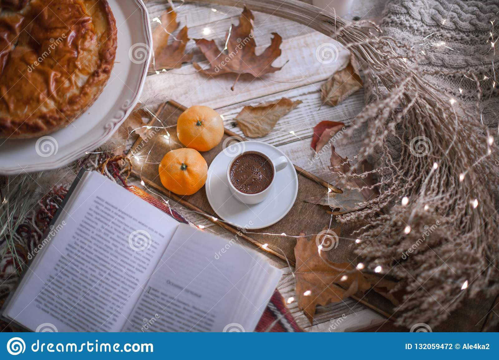 Fall cozy day with book and coffee
