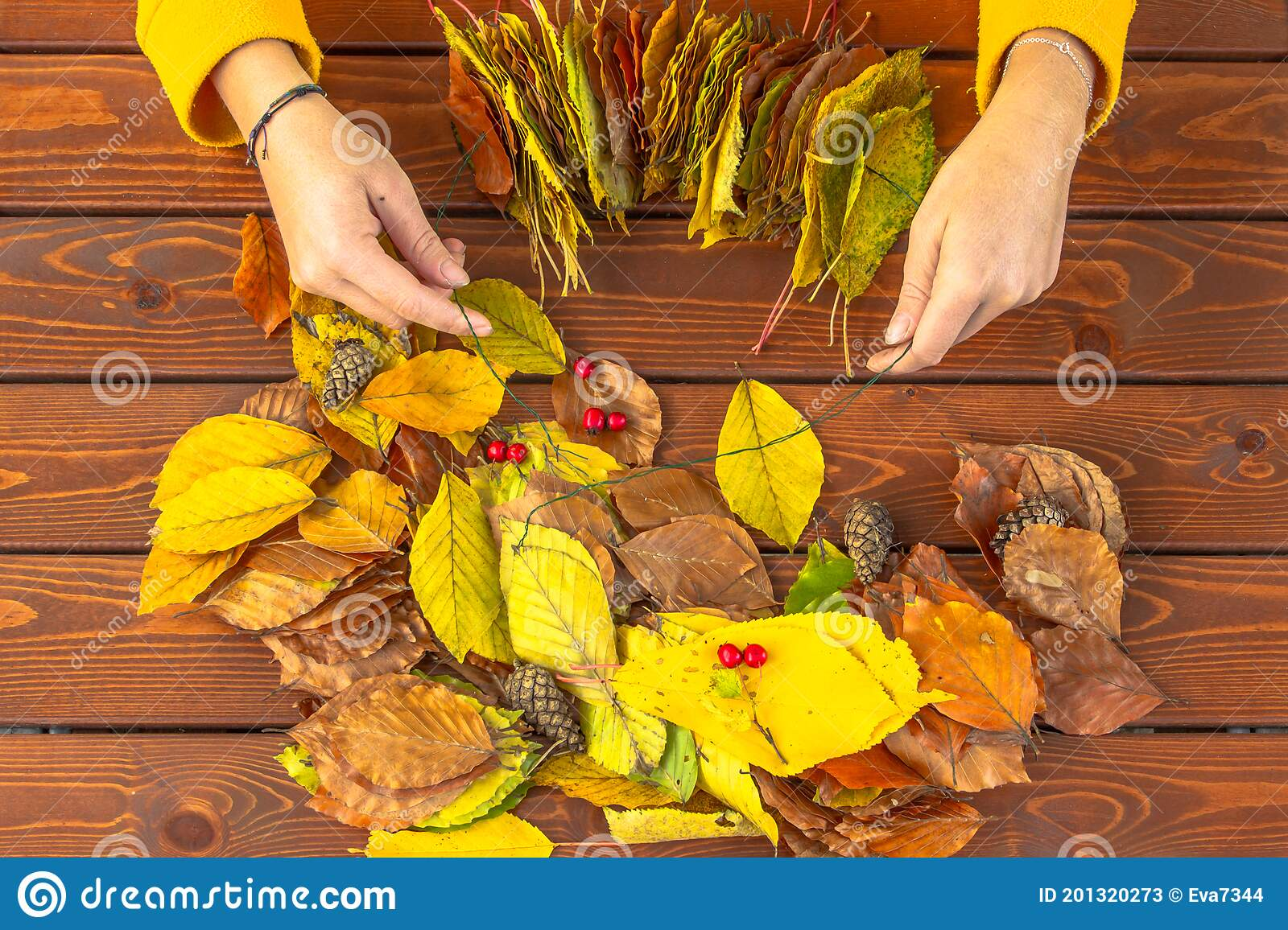 Fall Decorations Handmade With Natural Materials Making Garland With Vibrant Colorful Autumn Leaves Woman Decorating Home Autumn Stock Image Image Of Maple Bright 201320273