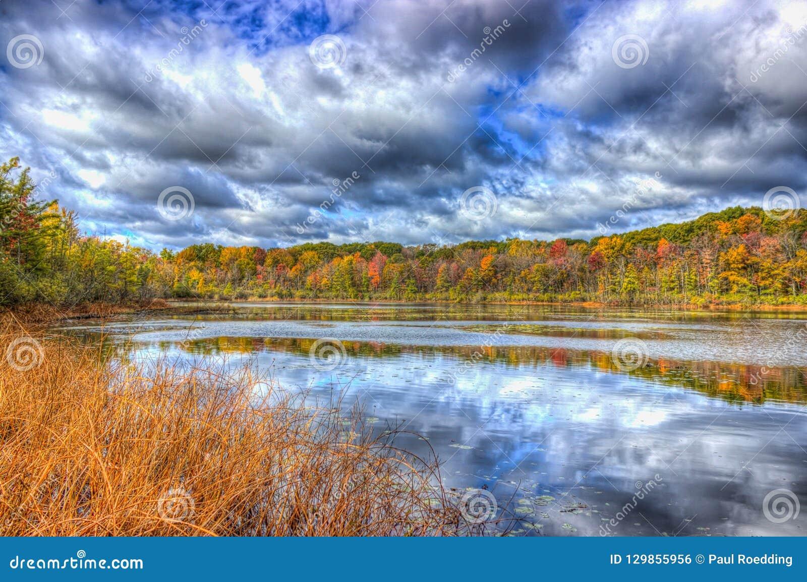 Fall-Farben auf Spettigue-Teich