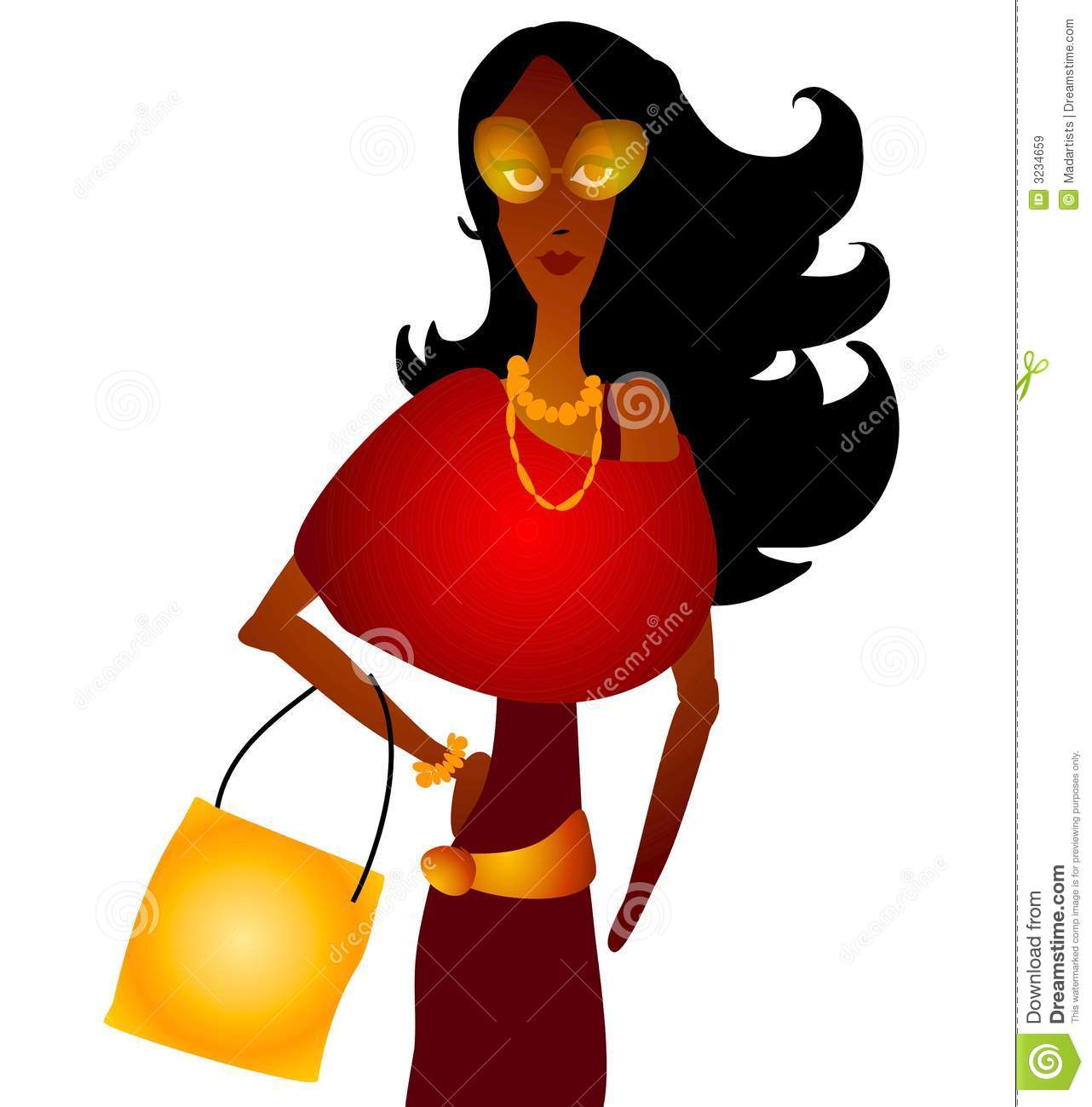 Fashion for women clip art - African American Art Clip Colors Fall Fashion Fashions Illustration Shopping Wearing Woman