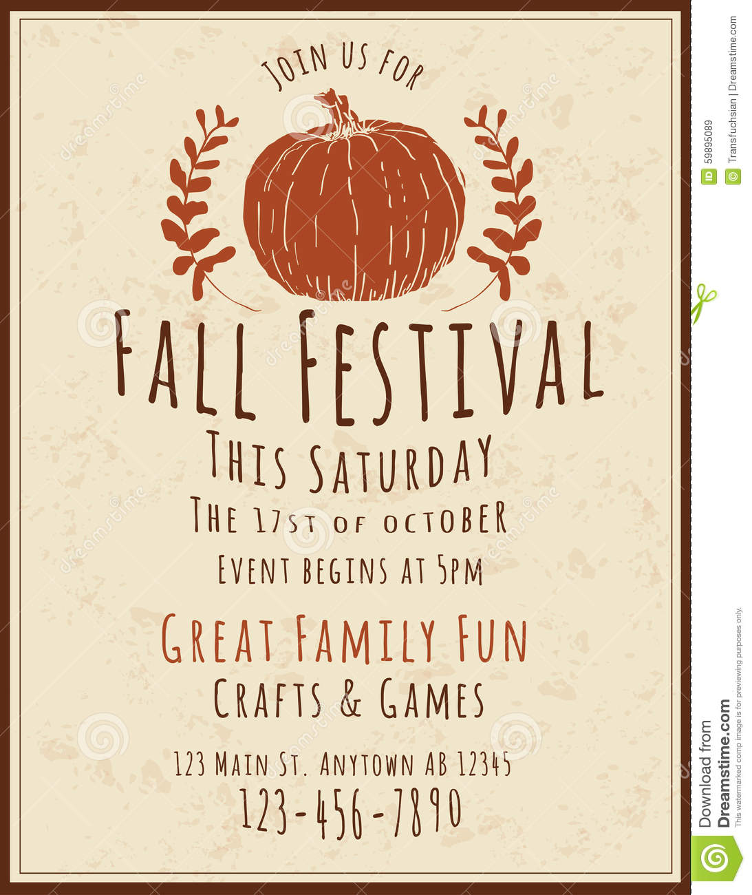 fall festival flyer template stock vector illustration of event flier 59895089. Black Bedroom Furniture Sets. Home Design Ideas