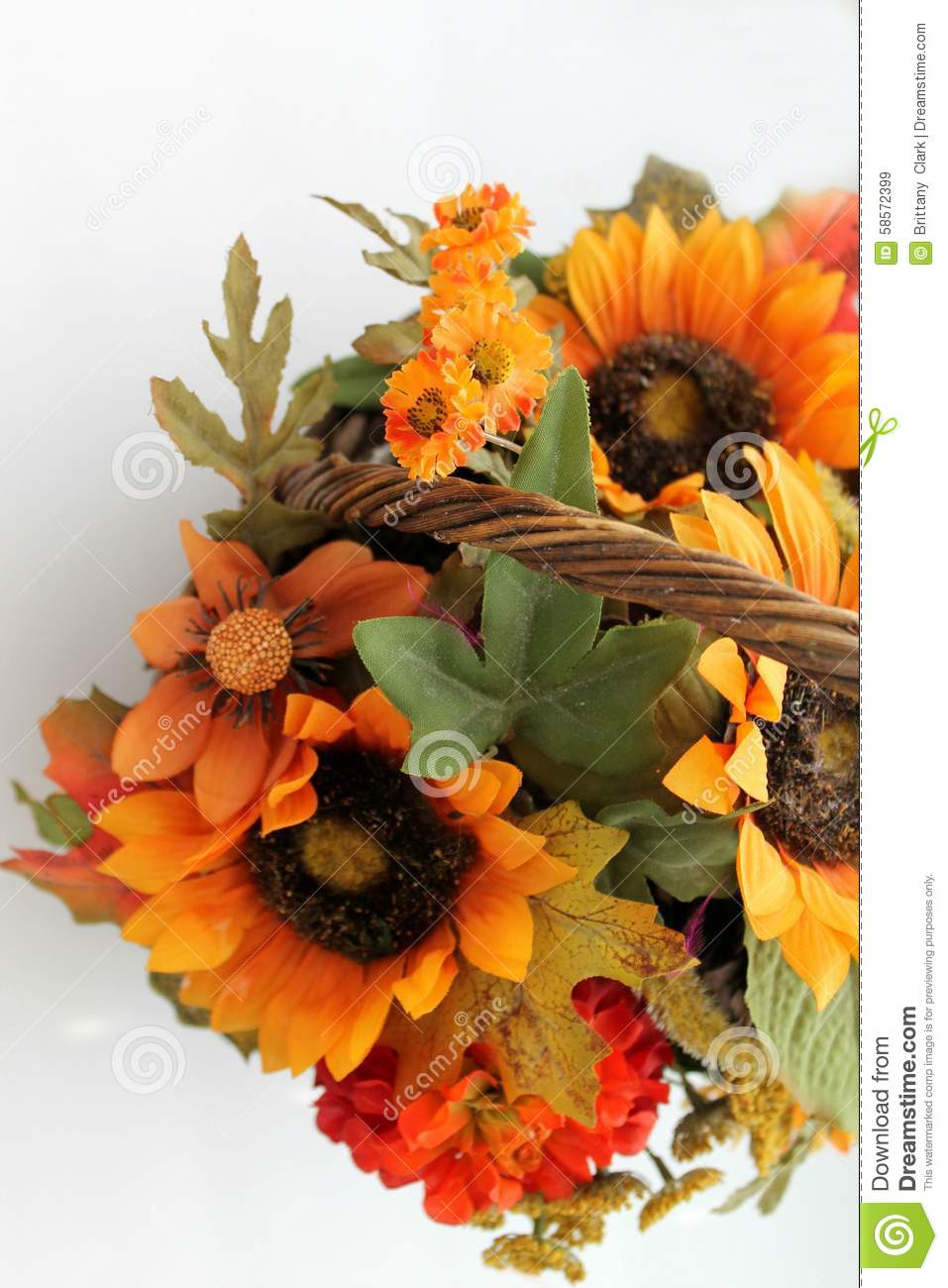 Fall Flower Bouquet With Sunflowers Decoration Stock Image Image