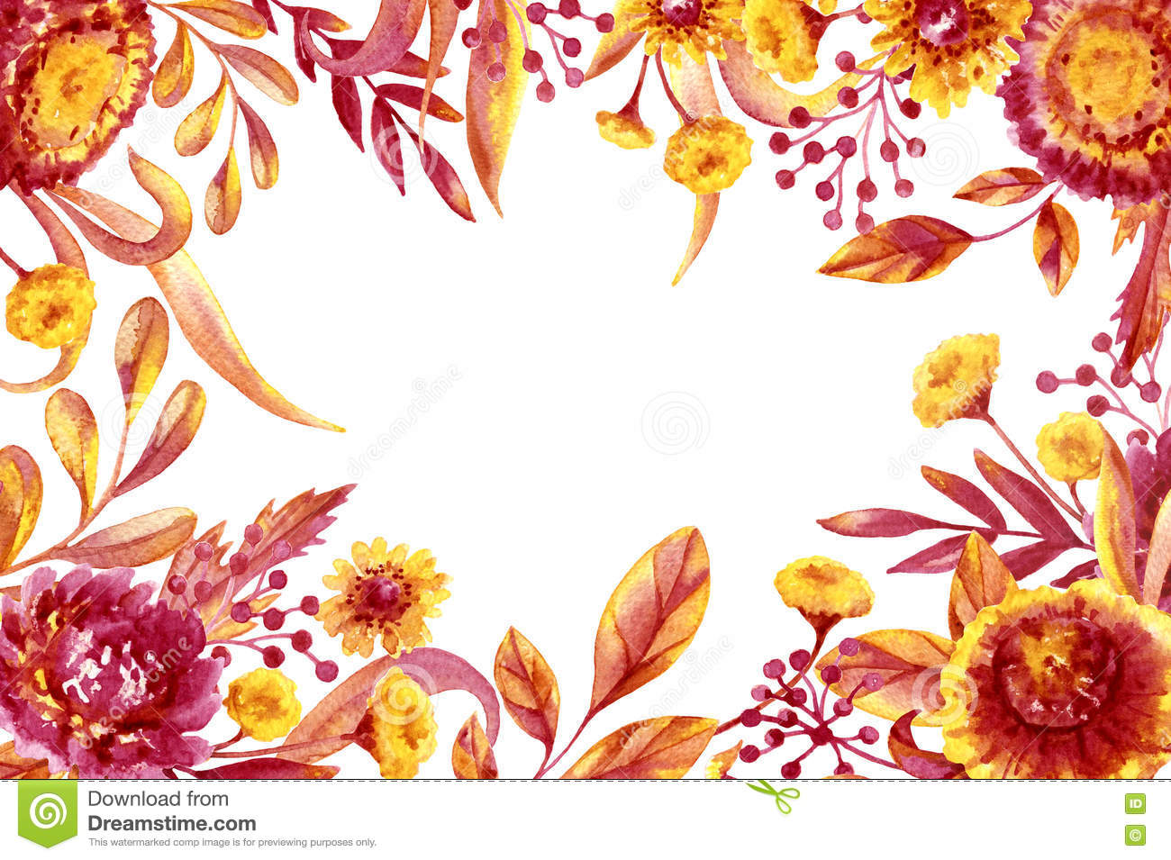 Fall Foliage And Flowers Frame Stock Illustration Illustration