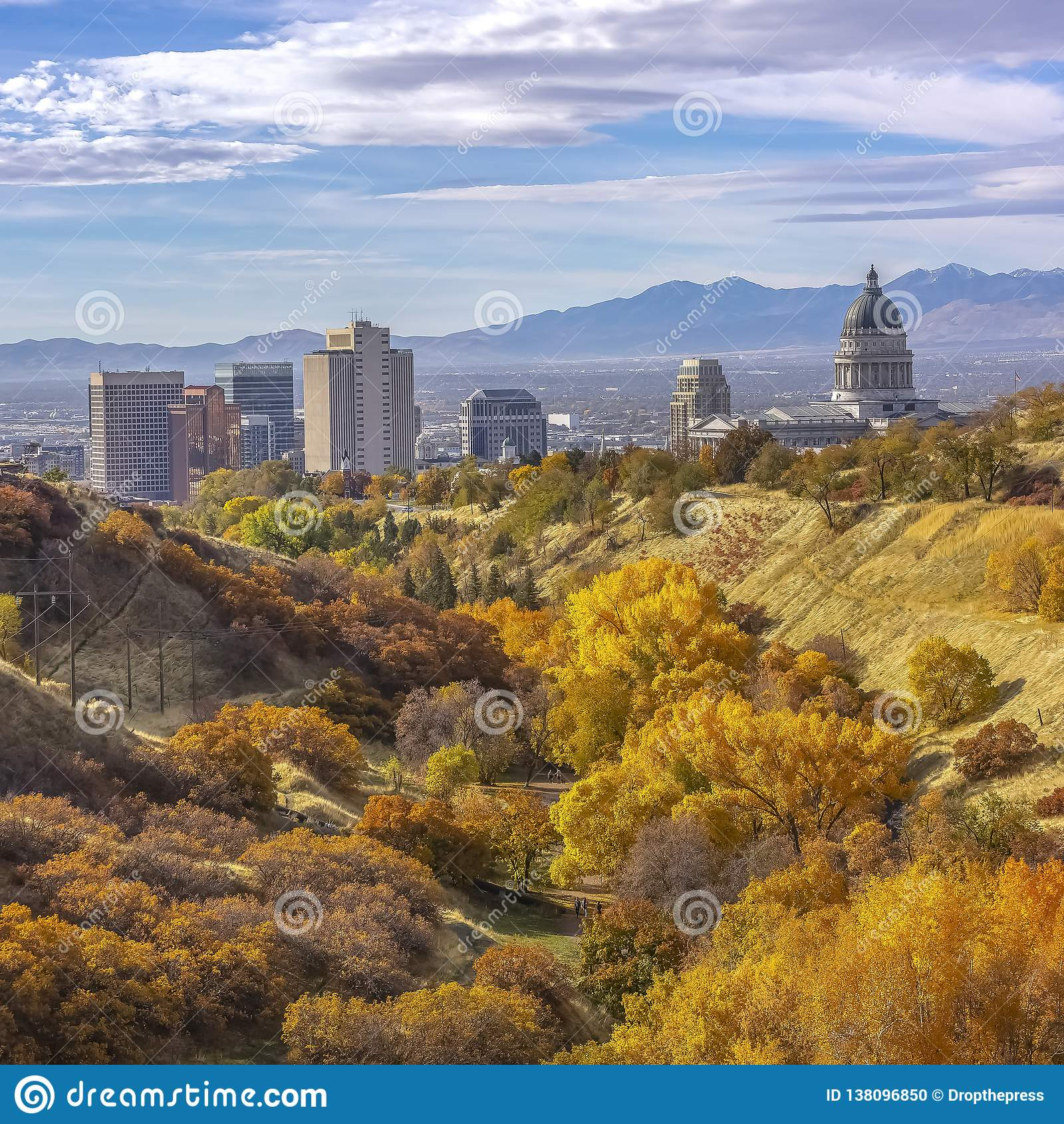 Salt Lake City Downtown Buildings: Fall Foliage And View Of Downtown Salt Lake City Stock