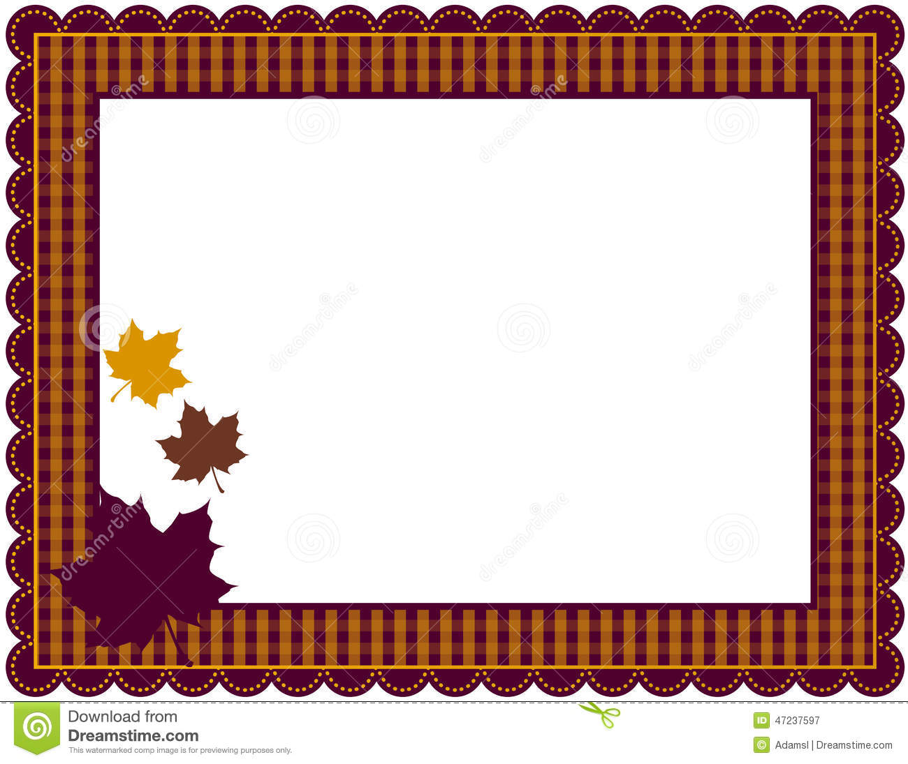 Gingham patterned frame with scalloped border designed in Fall theme ...