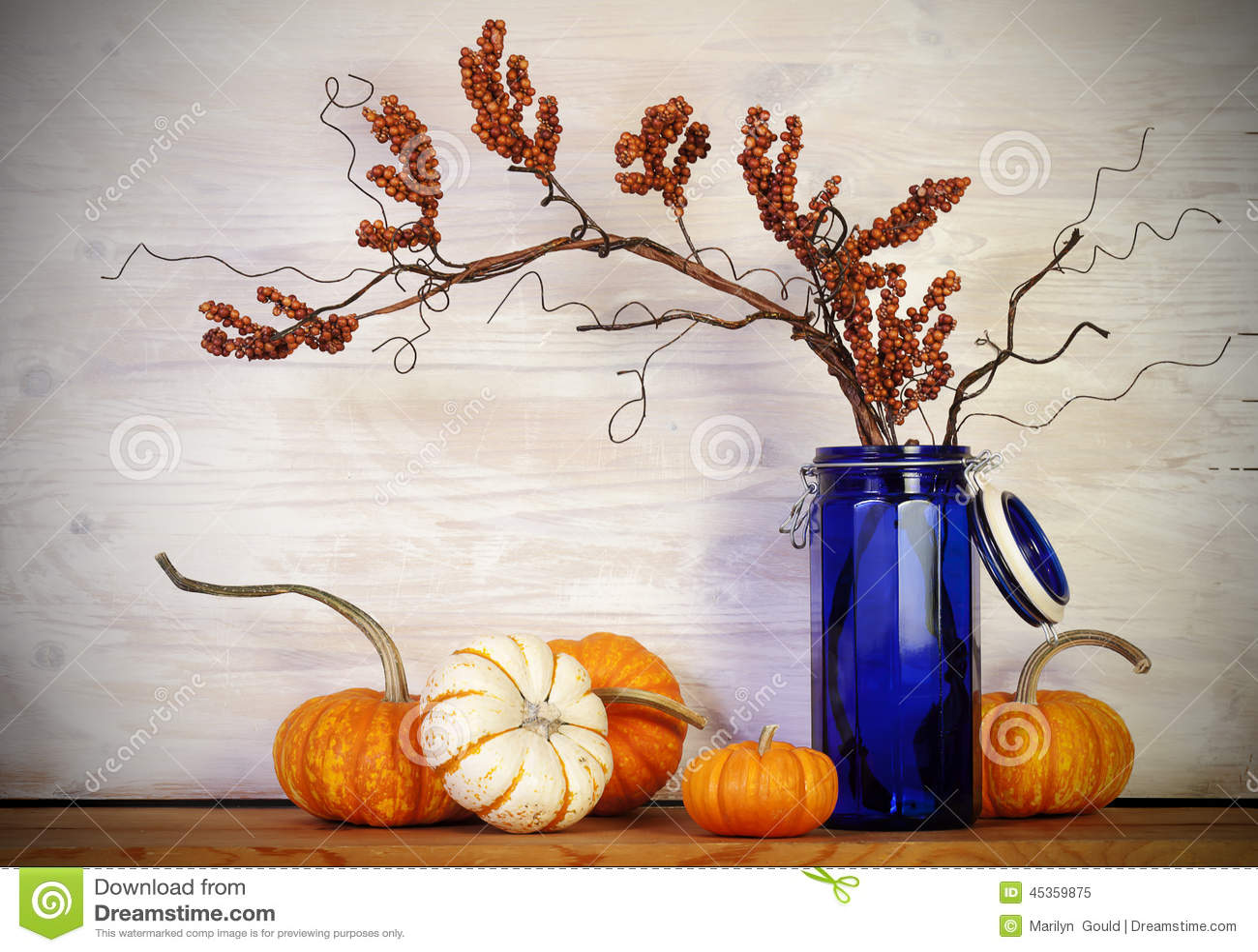 Fall-Kürbis-Blau-Vase