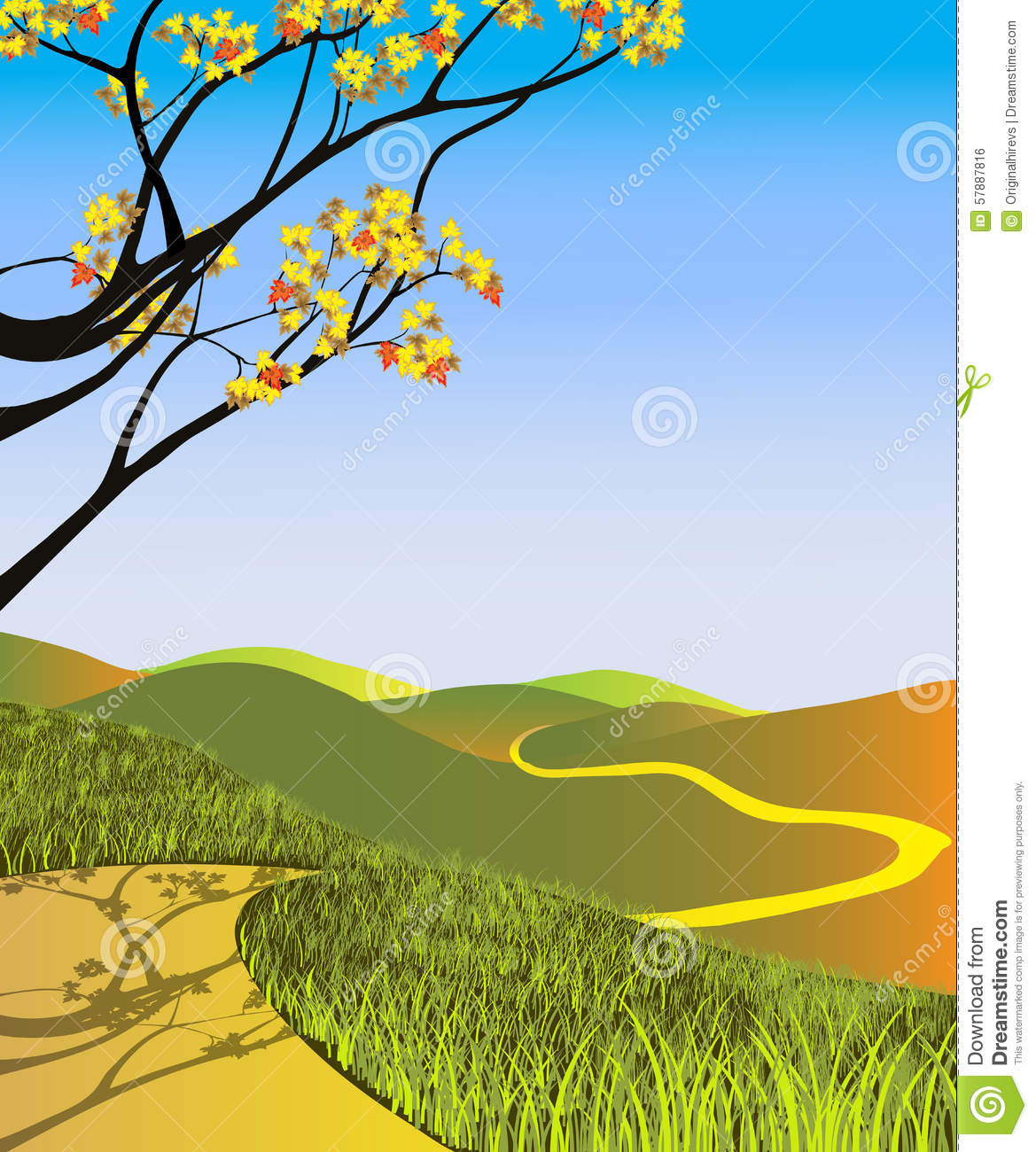 Fall Landscape Stock Vector Image 57887816