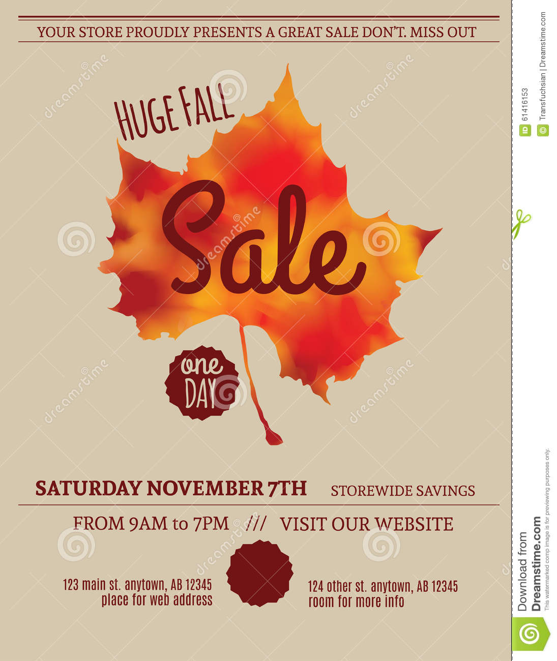 Royalty Free Vector. Download Fall Leaf Sale Flyer ...
