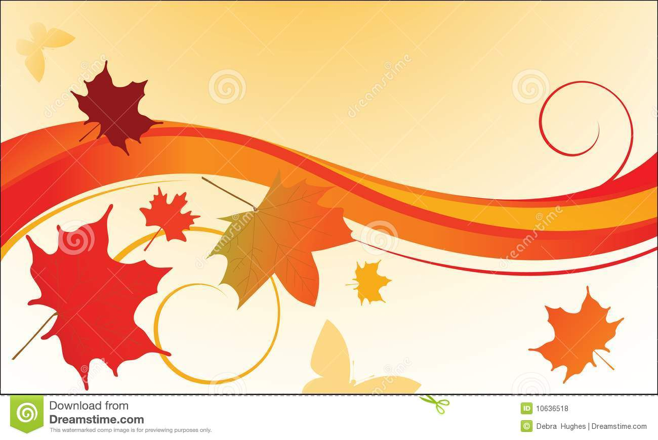 Fall Leaves Blowing In The Wind Stock Vector - Image: 10636518
