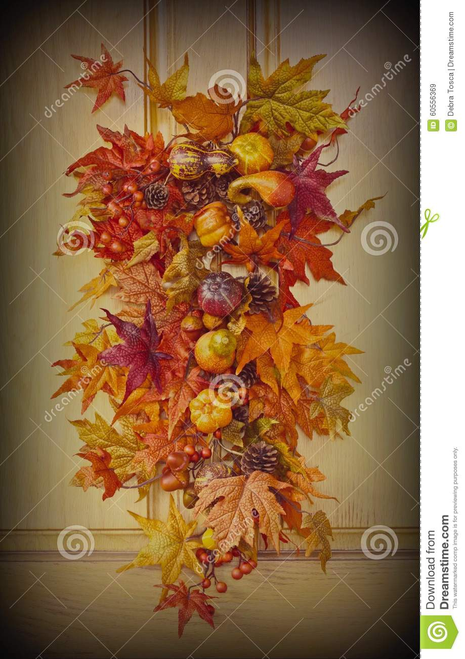 Fall Leaves Door Decoration Stock Image Image 60556369