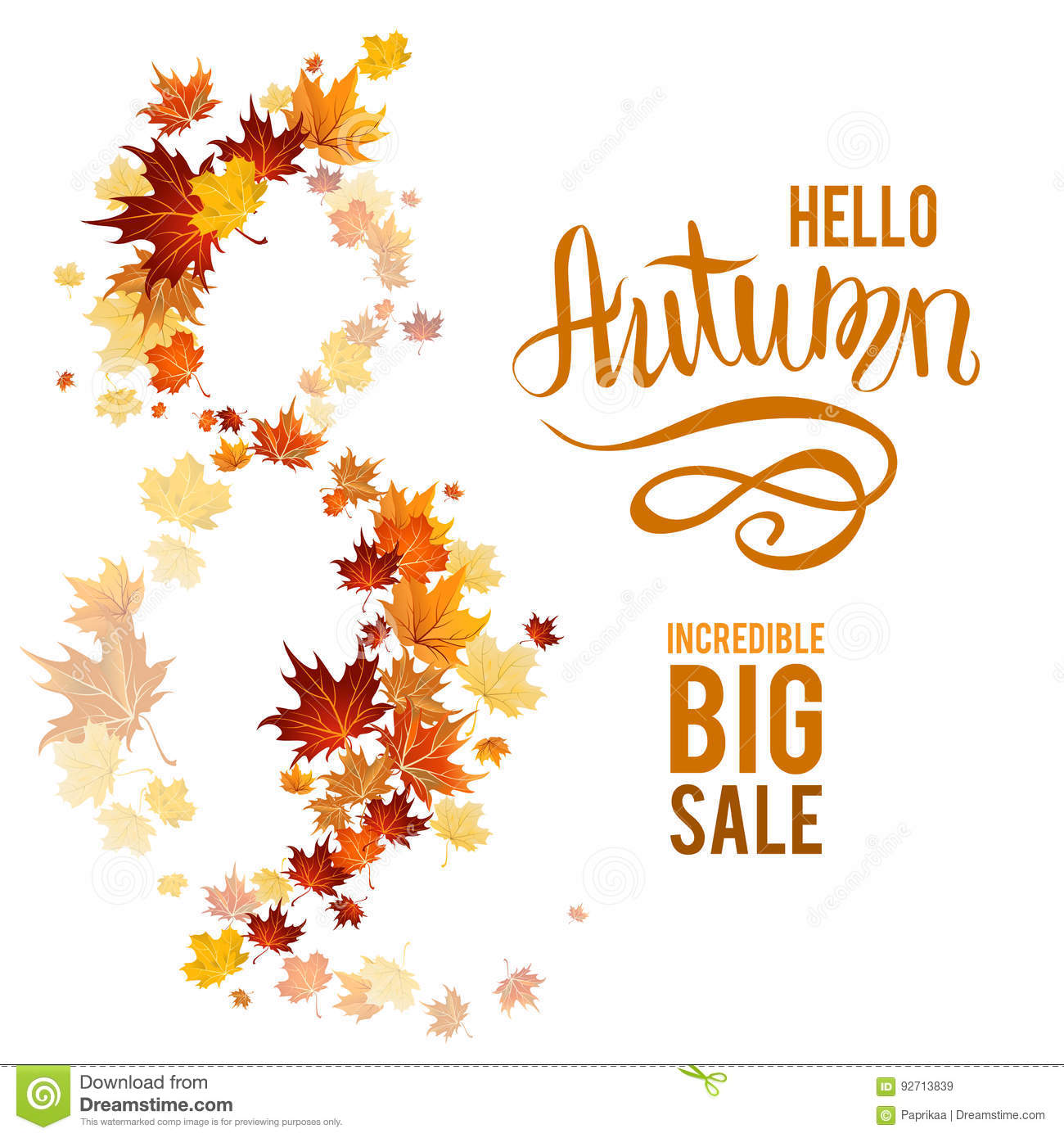 fall leaves poster sale stock vector illustration of foliage 92713839