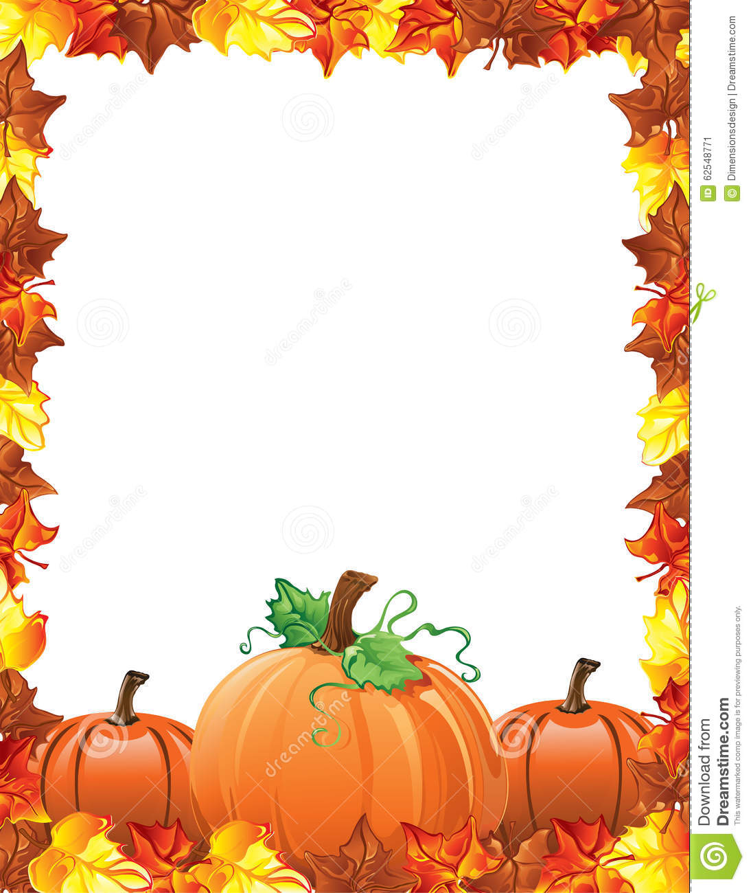 Fall Leaves And Pumpkins Border Stock Vector - Image: 62548771