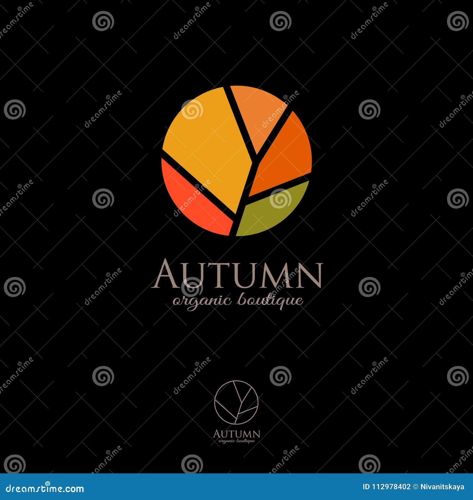 Fall logo. Autumn logo. Organic Shop emblem. Autumn symbol on a dark background.