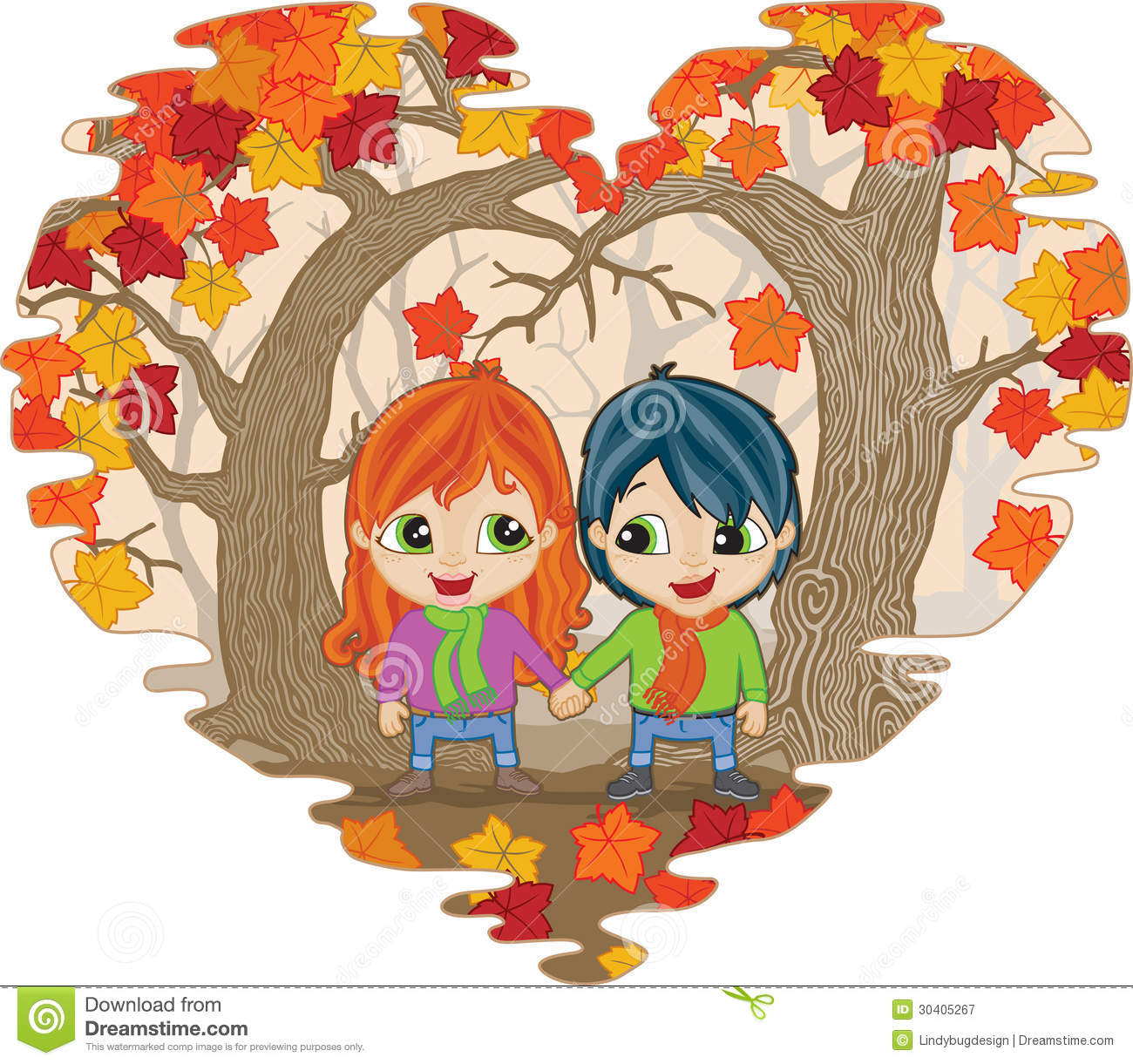 Fall in Love stock vector. Illustration of ginger, forest ...