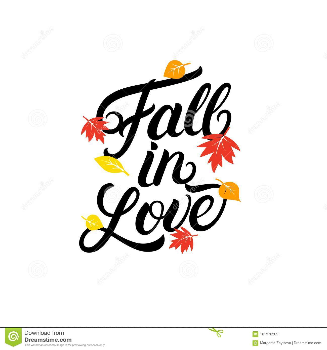 Fall In Love Hand Written Lettering Quote. Stock Vector ...