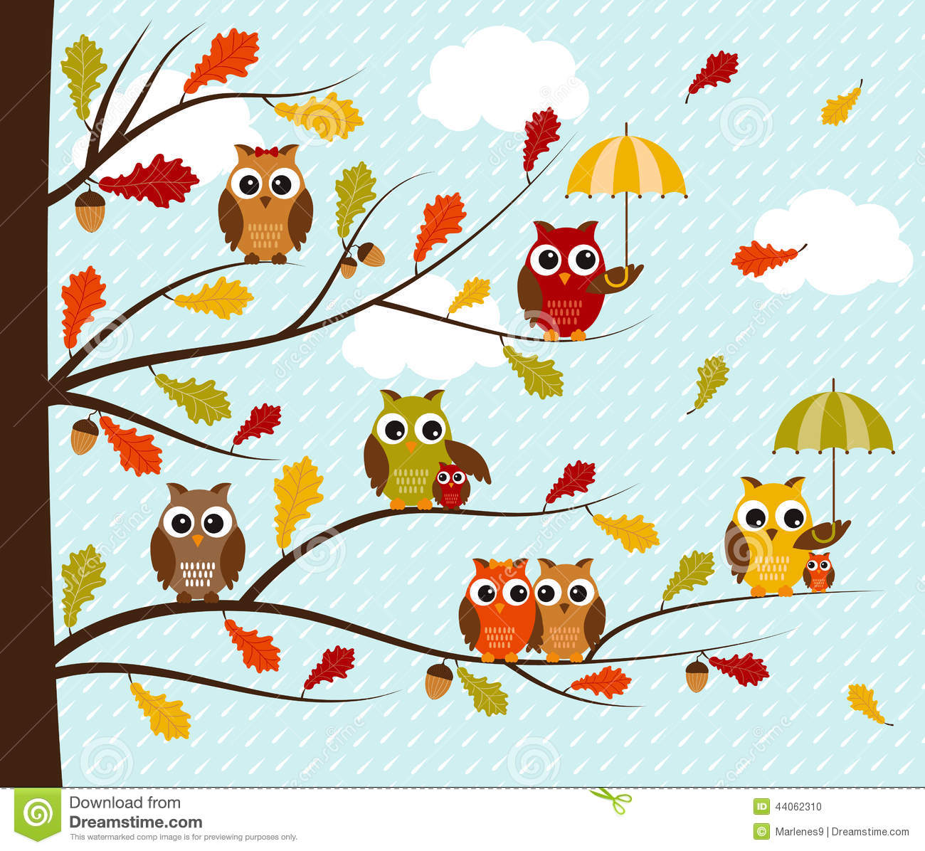 Fall Owls Stock Vector - Image: 44062310