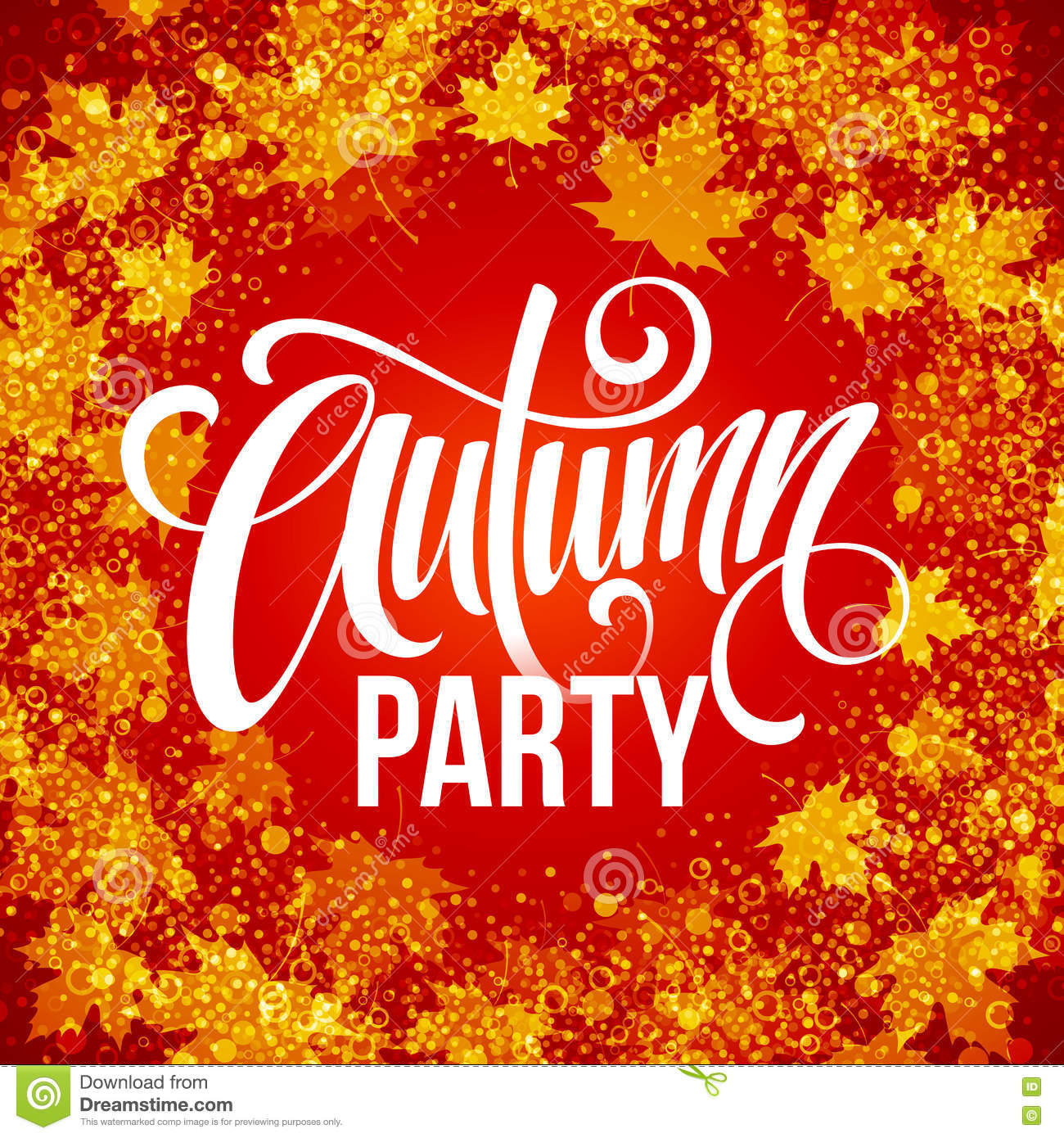 fall party  template for autumn poster  banner  flyer