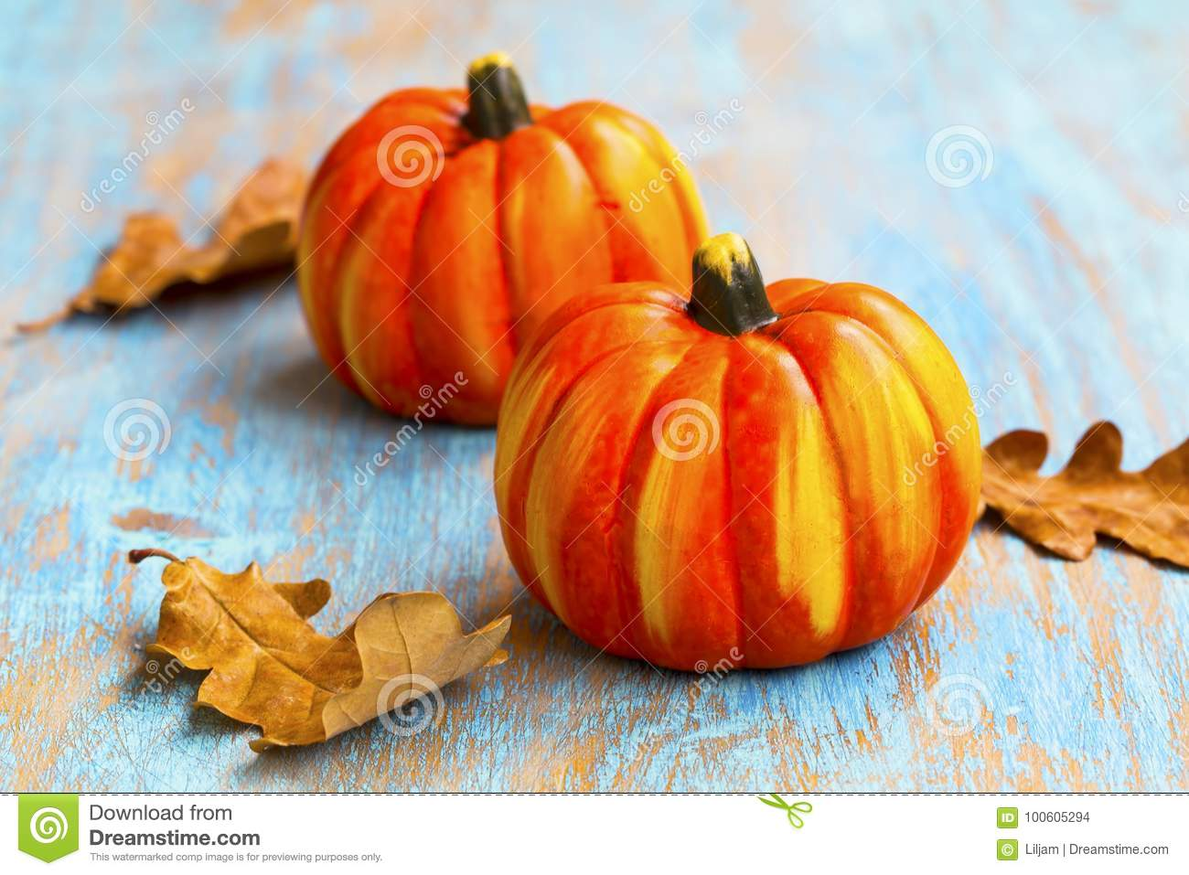 Fall Pumpkins Decorations With Dried Leaves On Old Painted Wood Autumnal Seasonal Setting Decorations Stock Photo Image Of Harvest Fruit 100605294