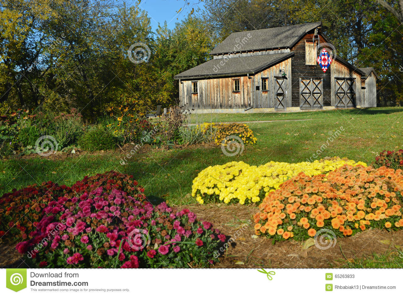 Fall Quilt Barn Stock Photo Image 65263833