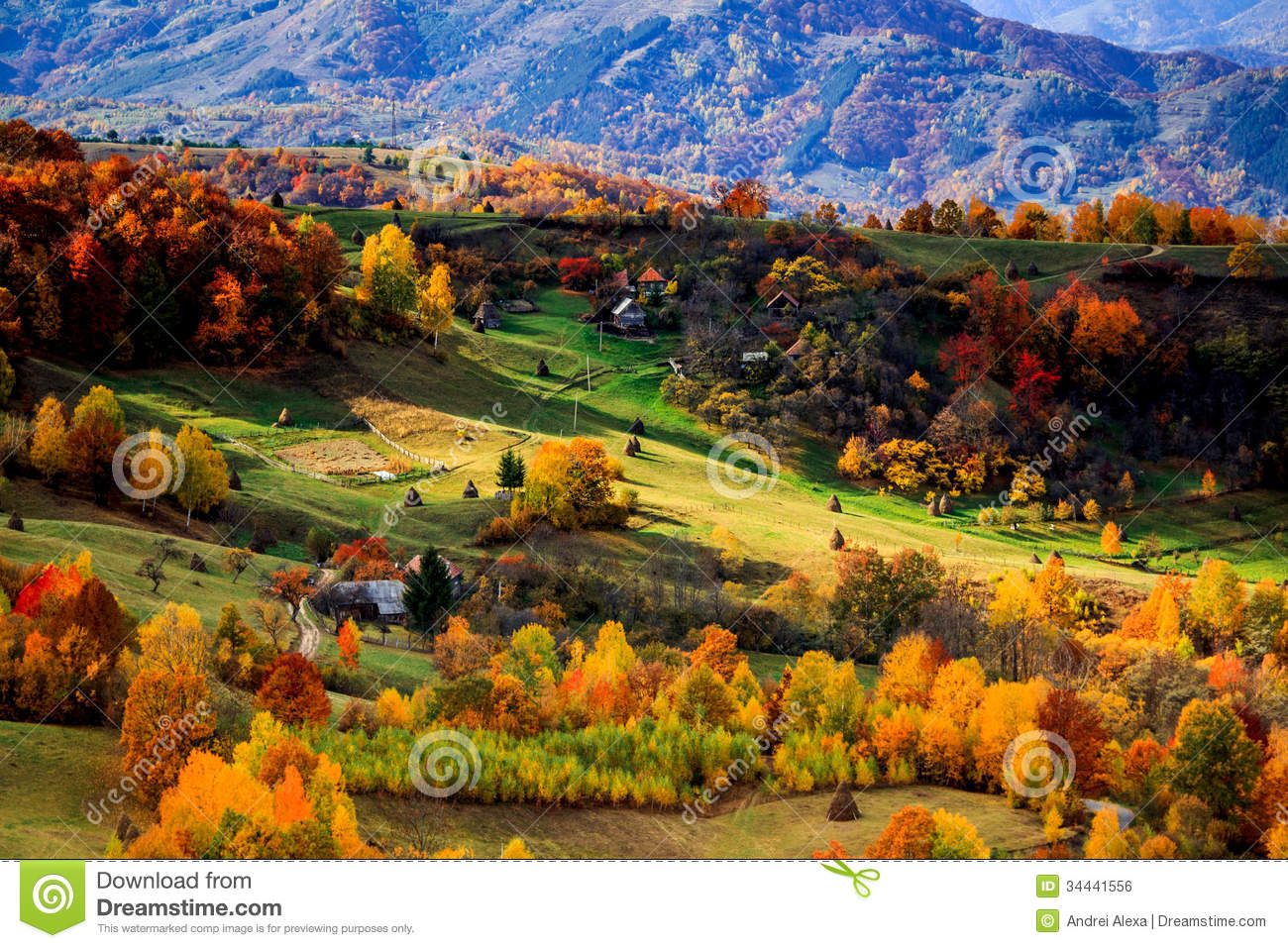 Fall 39 s colours royalty free stock image image 34441556 - Summer houses mountains ...