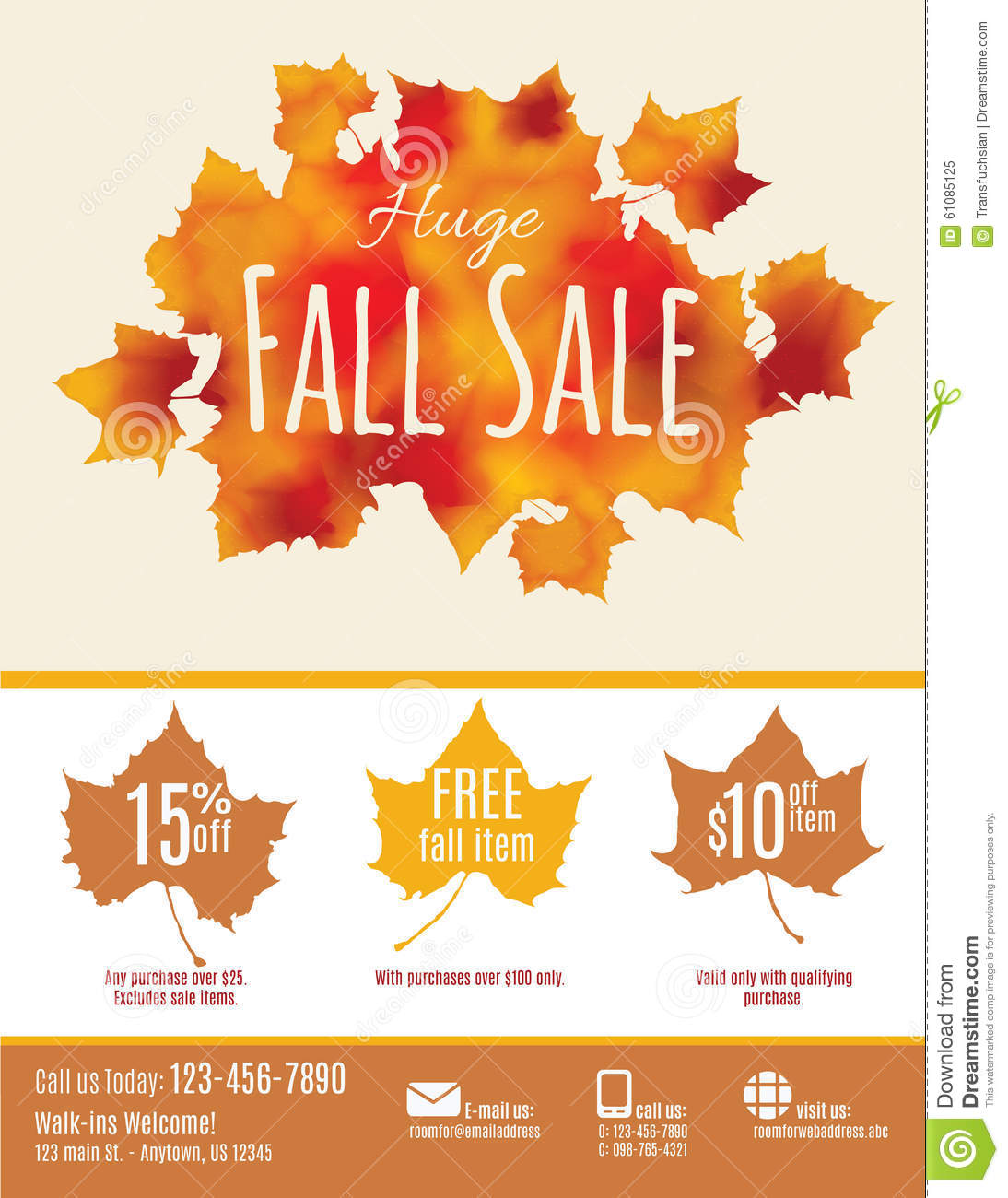 Fall Sale Flyer Template Stock Vector - Image: 61085125
