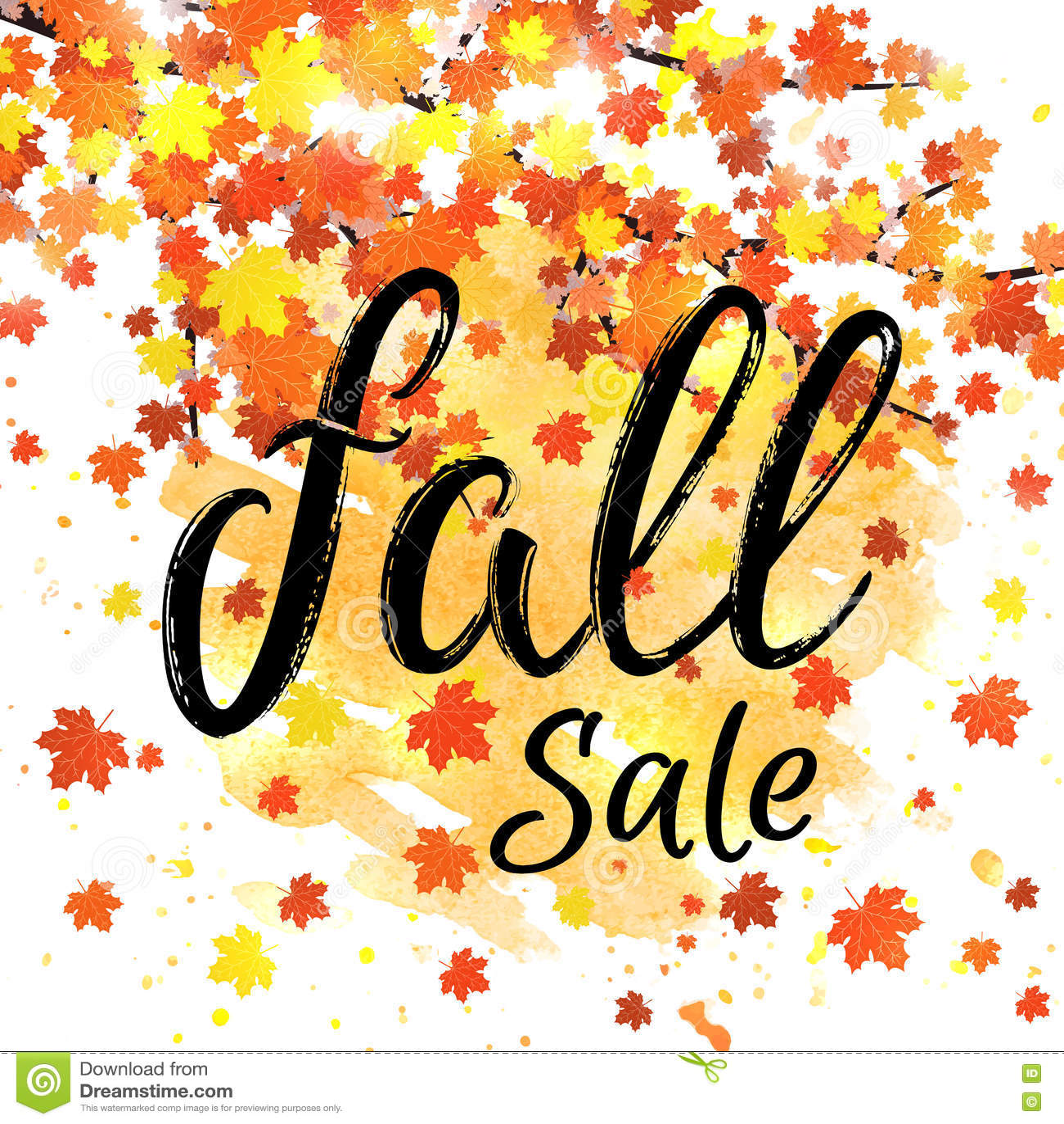 Fall Sale Lettering Banner Seasonal Discount Autumn