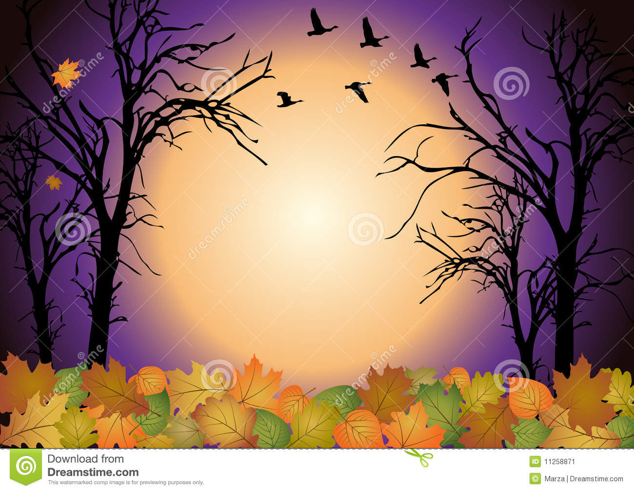 Fall scenery stock vector. Illustration of forest, graphic ...