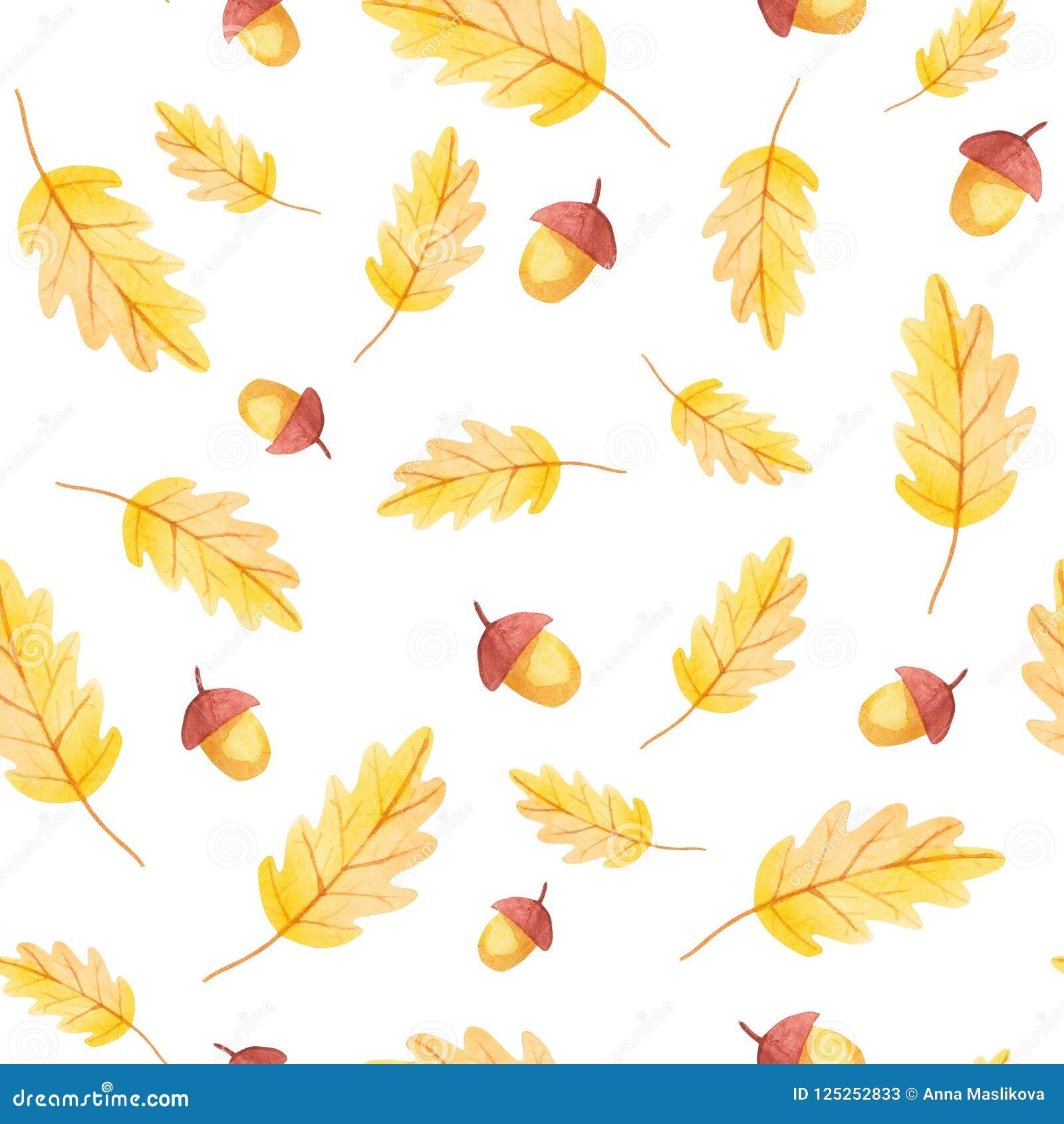 Fall-Schwingungen Nahtloses Muster der Eichel und des gelben Blattes