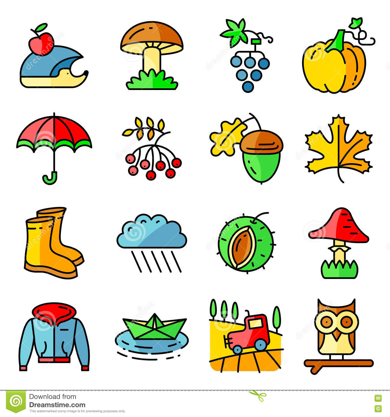 Fall Season Colorful Thin And Simply Icons Set. Stock Vector - Image: 75485559