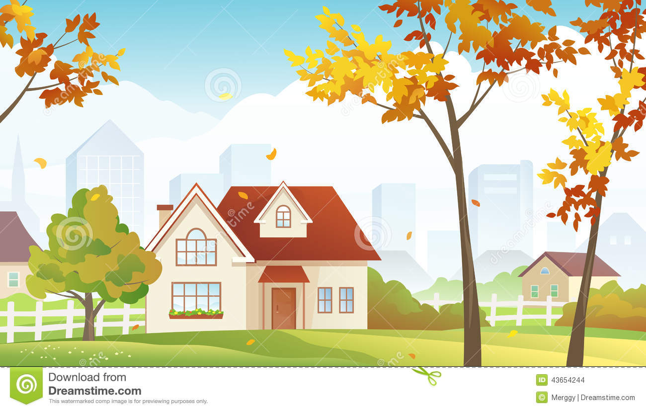 Fall suburb stock vector. Illustration of home, green ...