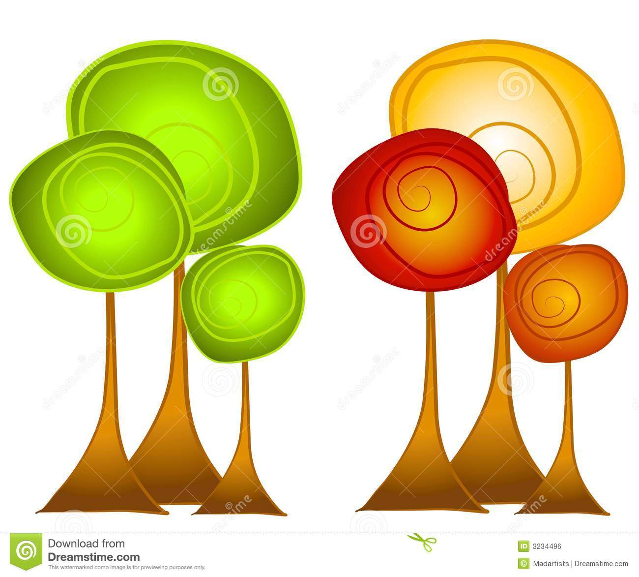 Fall And Summer Trees Clip Art Royalty Free Stock Image