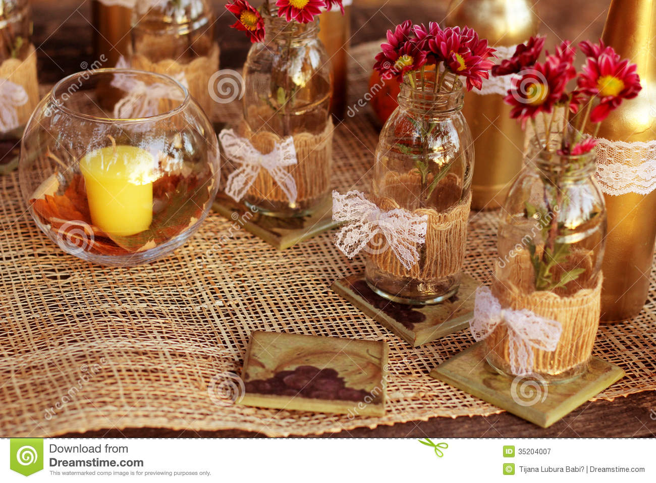 Fall and table decorations in nature royalty free stock photography image - Decoration table nature ...