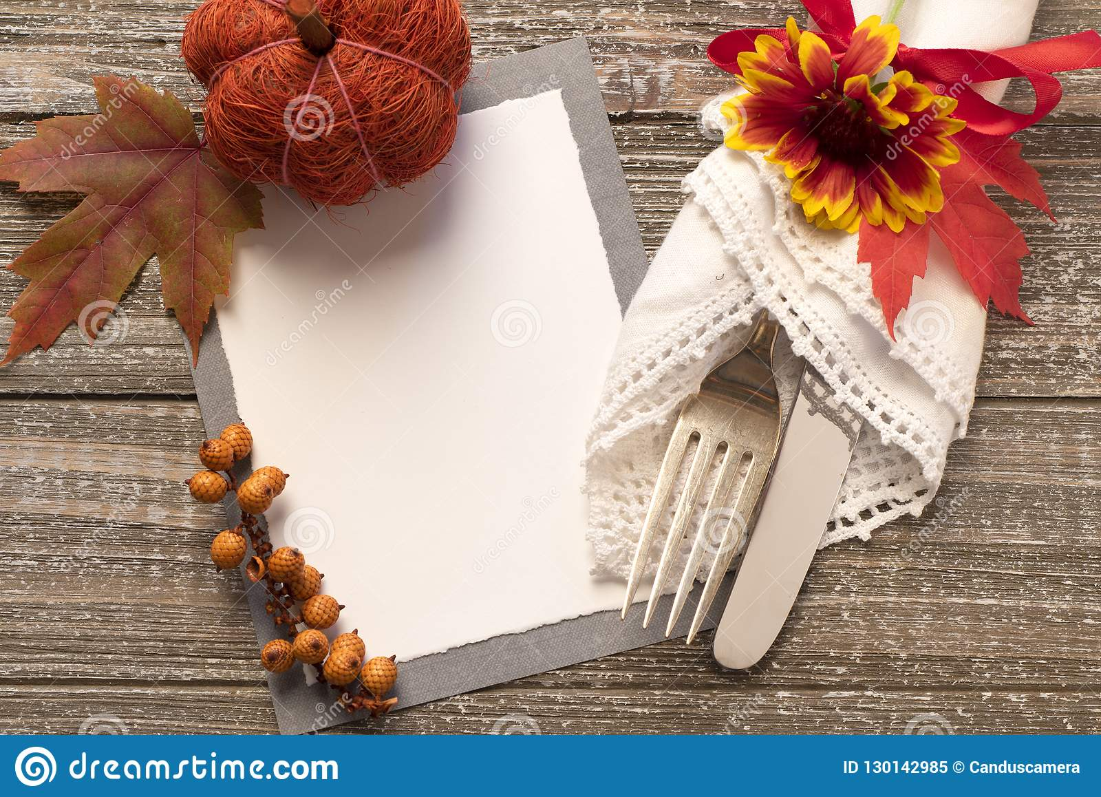 fall table setting with blank invite or menu card with space or room