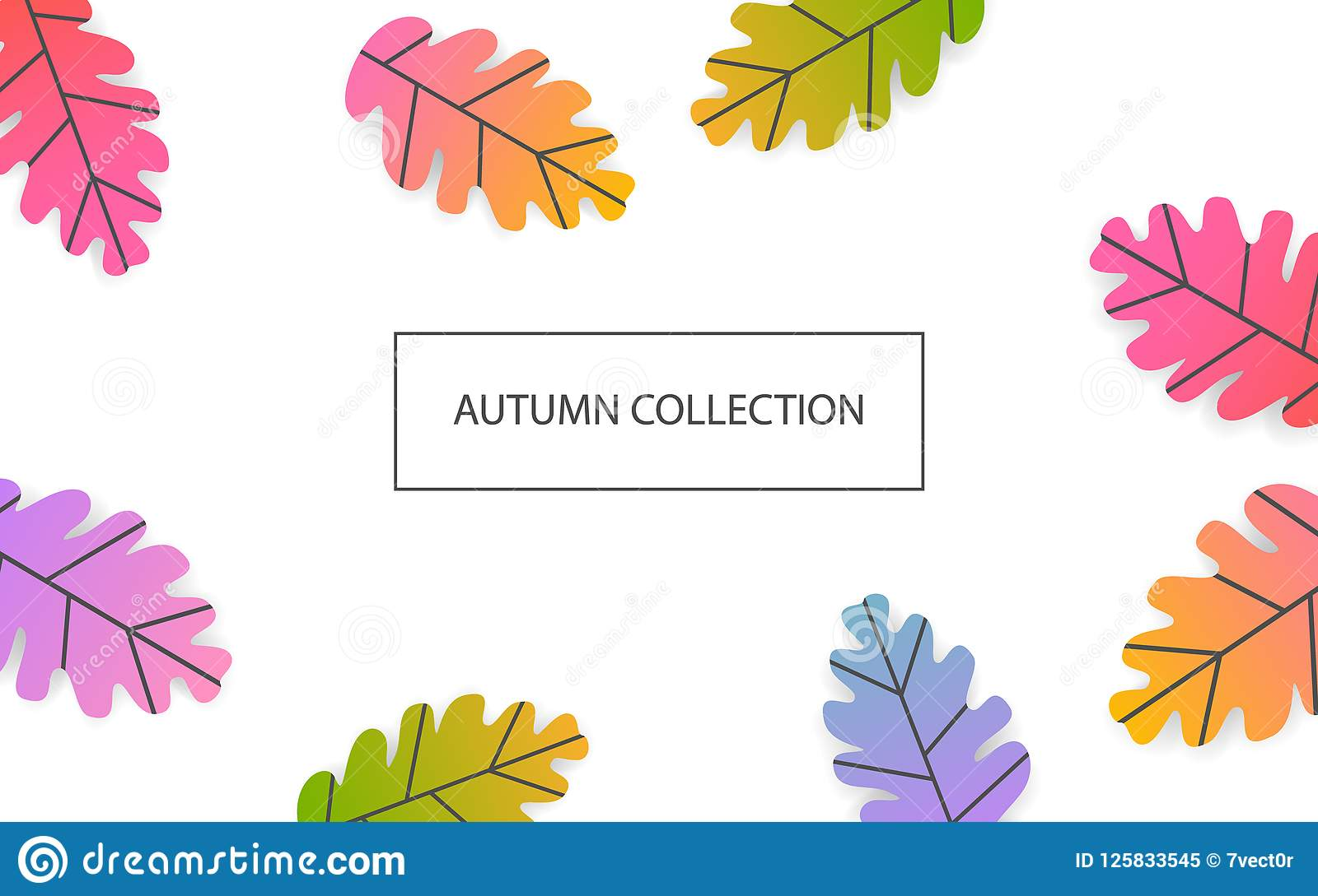 Fall thanksgiving seasonal banner with gradient colored oak leaves background