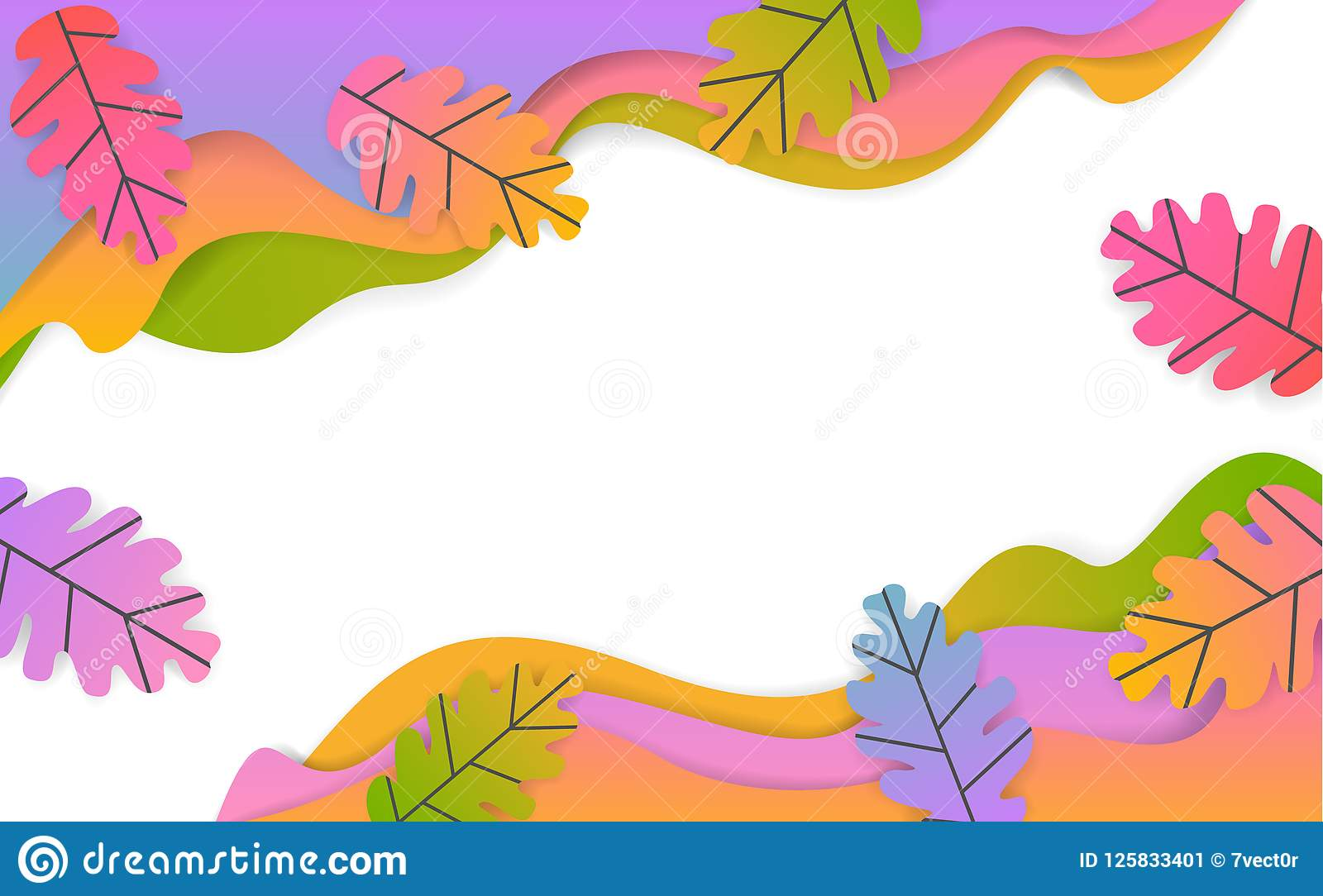 Fall thanksgiving seasonal wavy paper cut style banner with gradient colored oak leaves