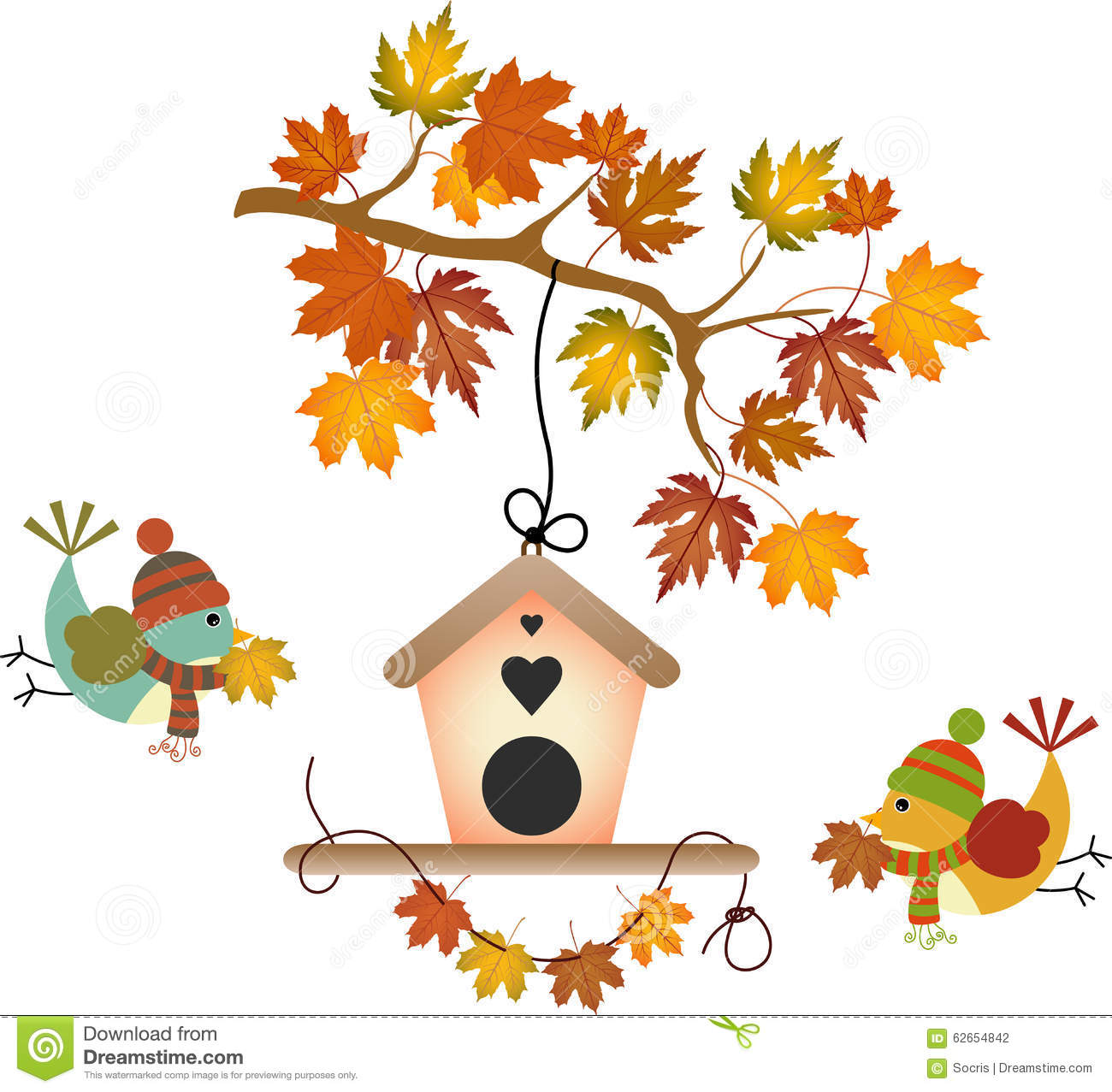 Fall Tree Leaf And Birds Stock Vector Image 62654842