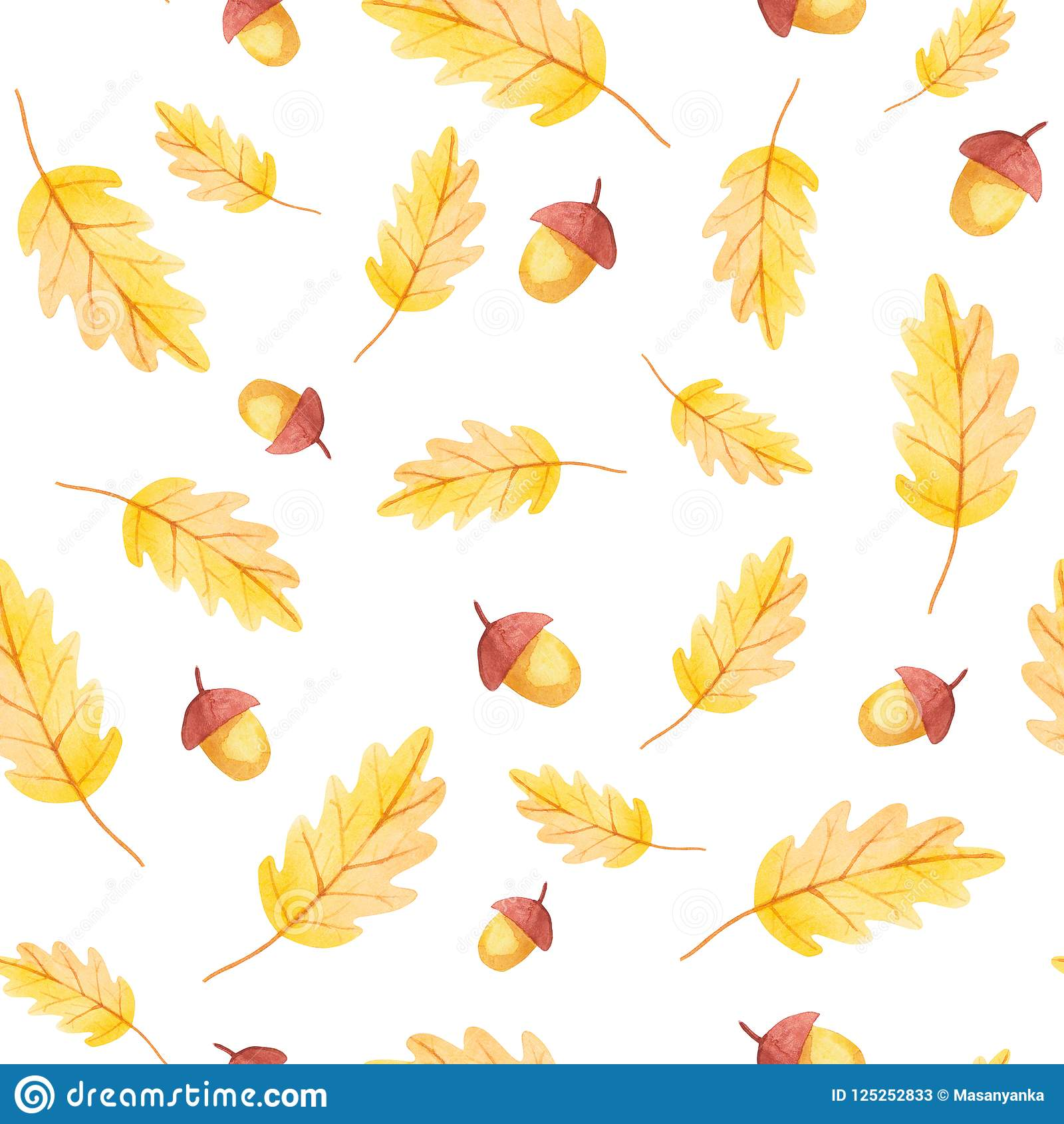 Fall vibes. Acorn and yellow leaf seamless pattern.