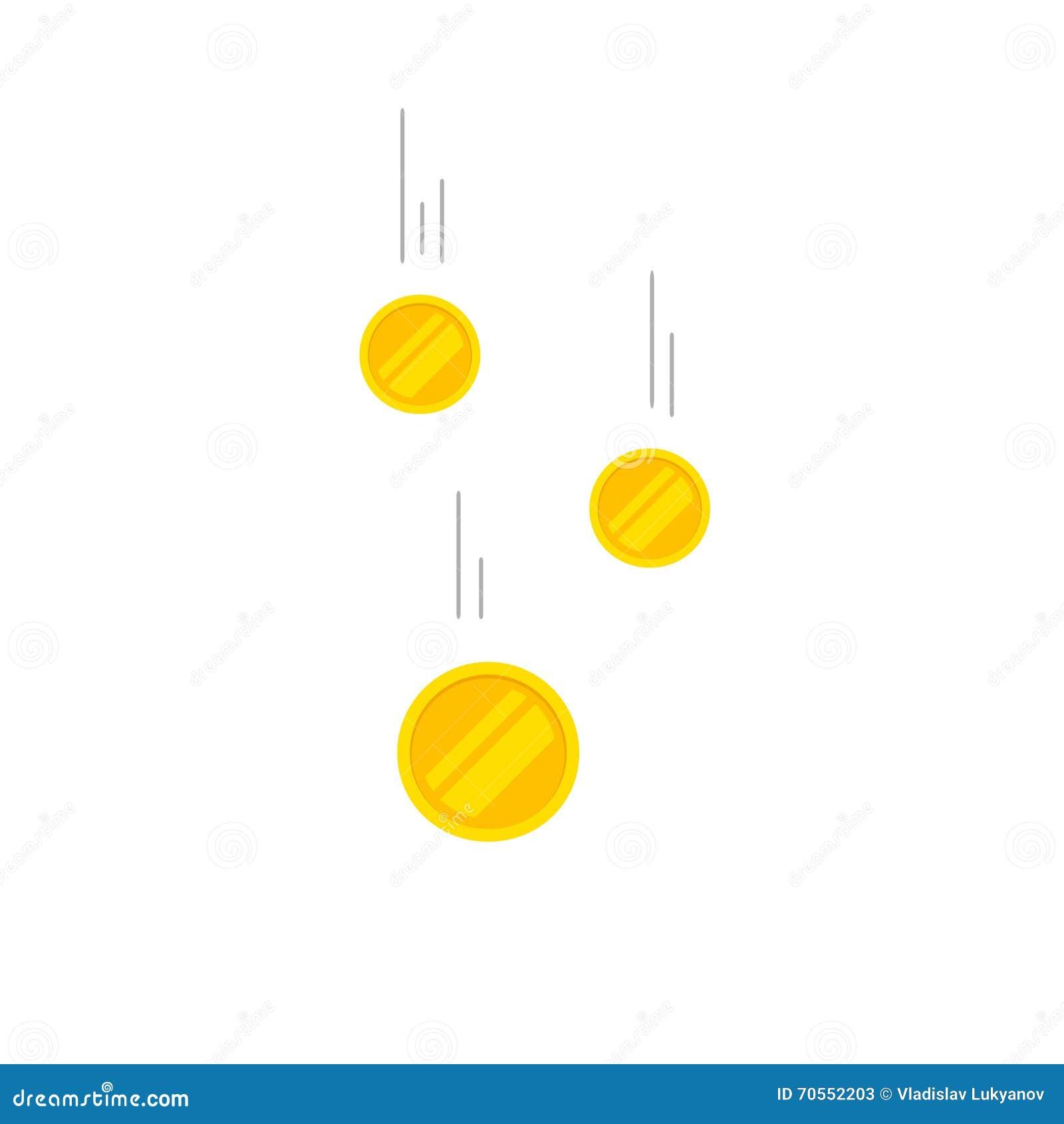 Falla myntar pengarvektorillustrationen som flyger guld