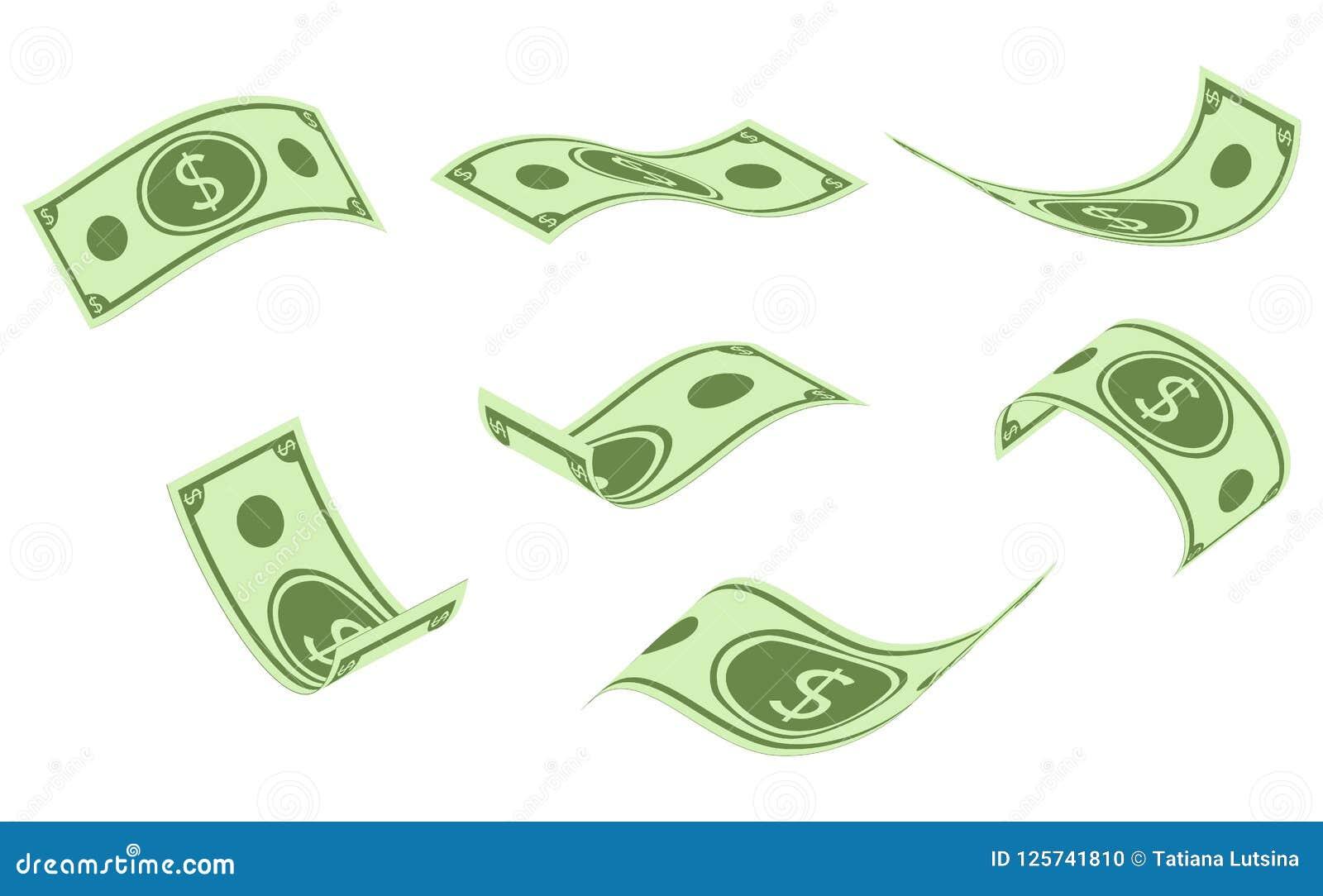 Fallande dollarsedlar, pengarregn, plan vektorillustration som isoleras på vit bakgrund