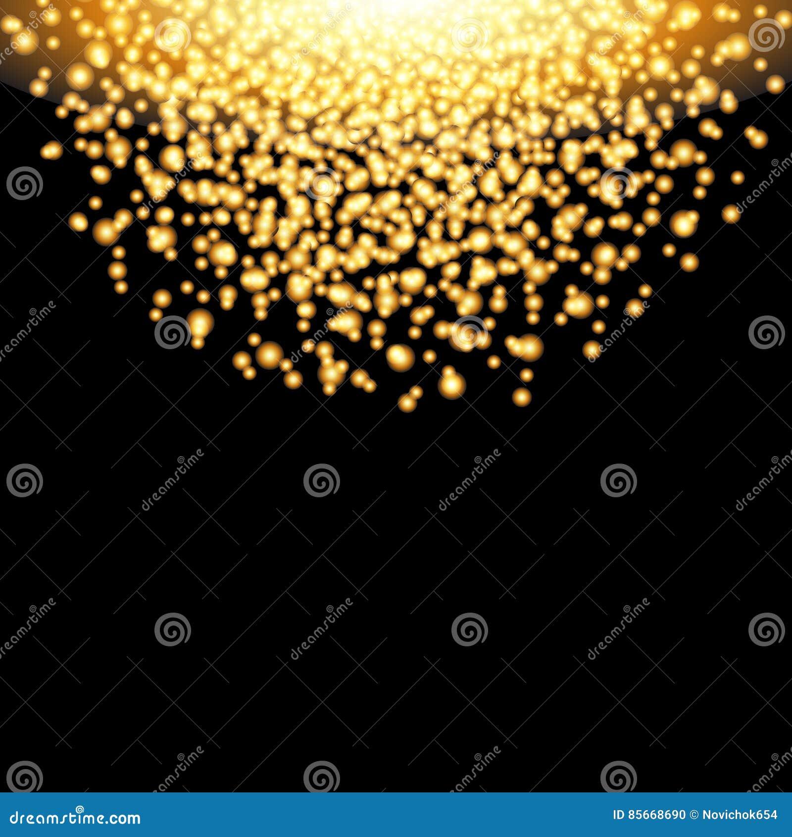 Fallande guld- partiklar för glöd på svart bakgrund Lyxig design Ferie nattklubb, partikort