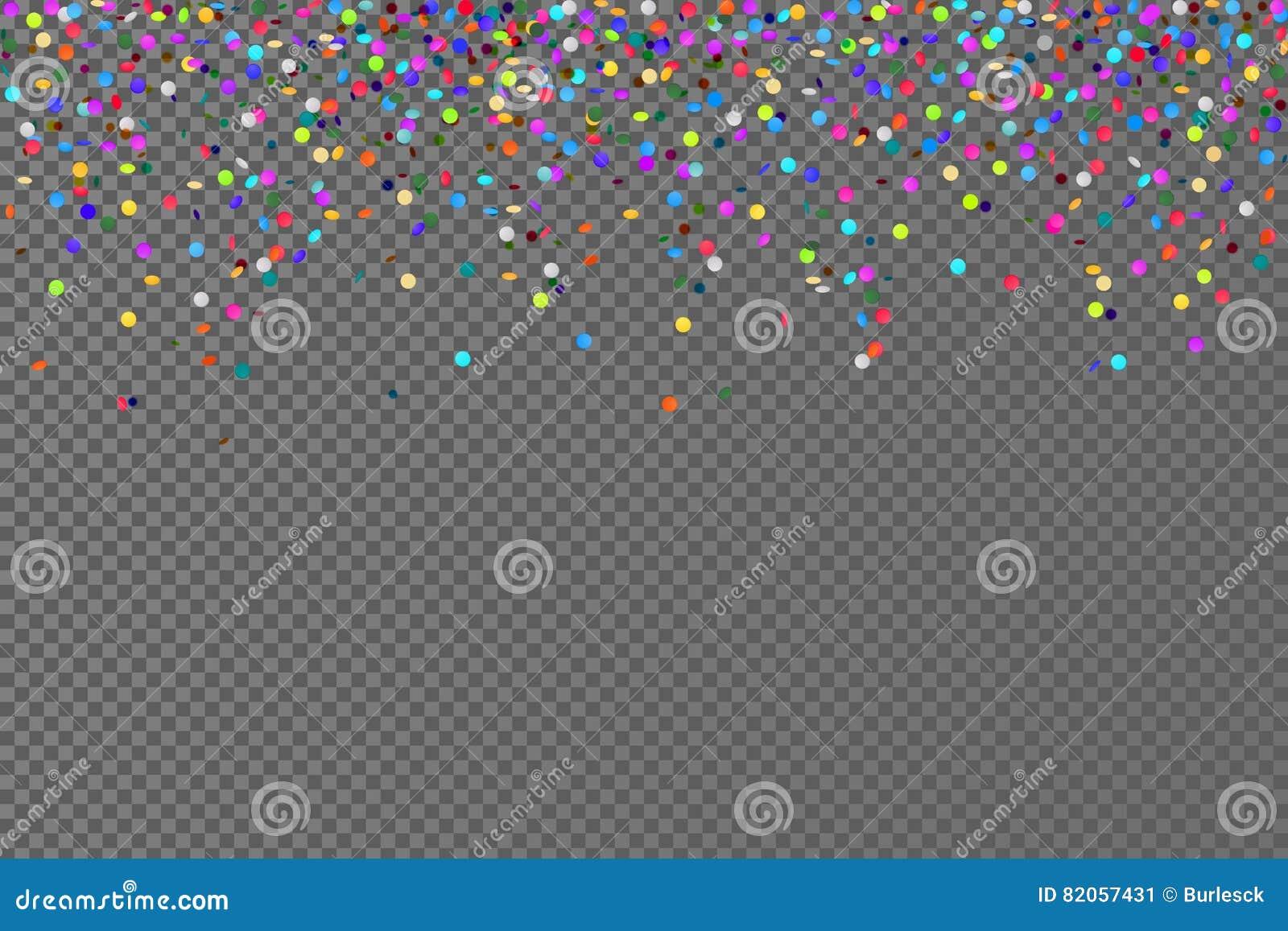 Fallande konfettihorisontalsömlös modell för vektor på genomskinlig bakgrund