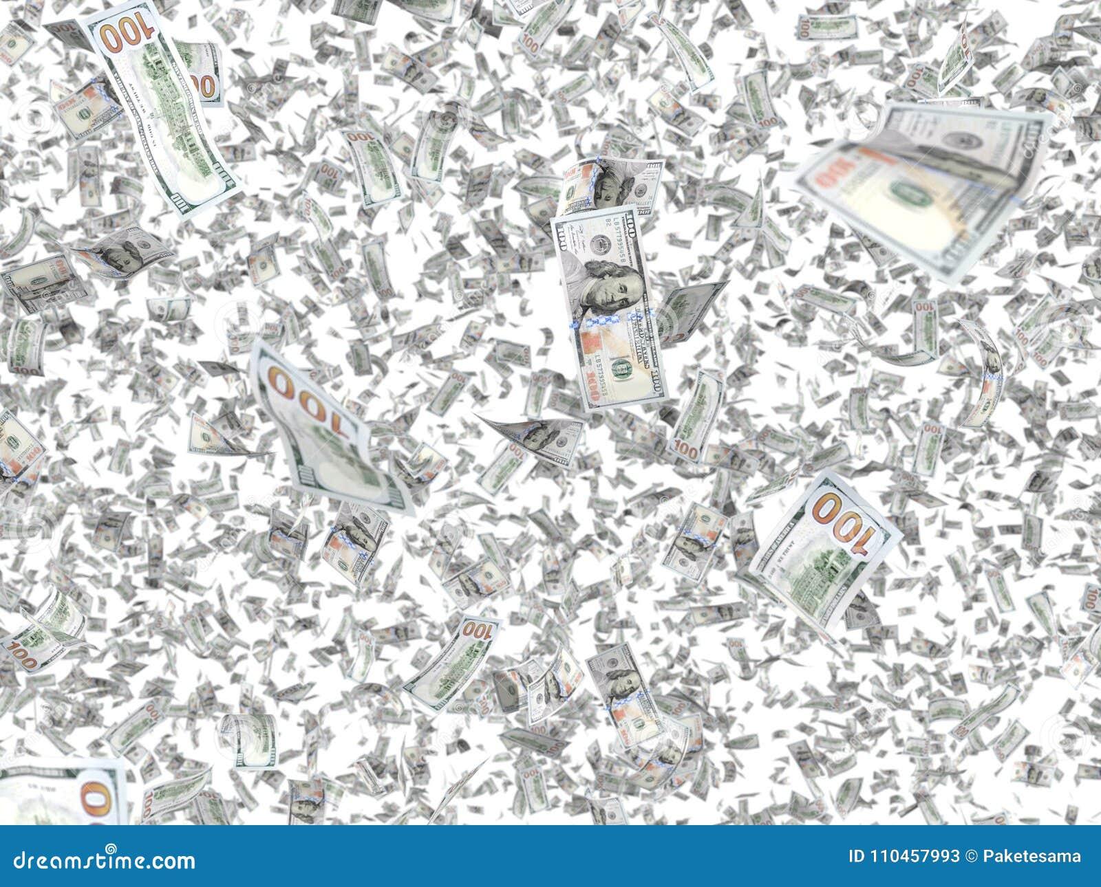 Fallande sedlar som isoleras på vit bakgrund