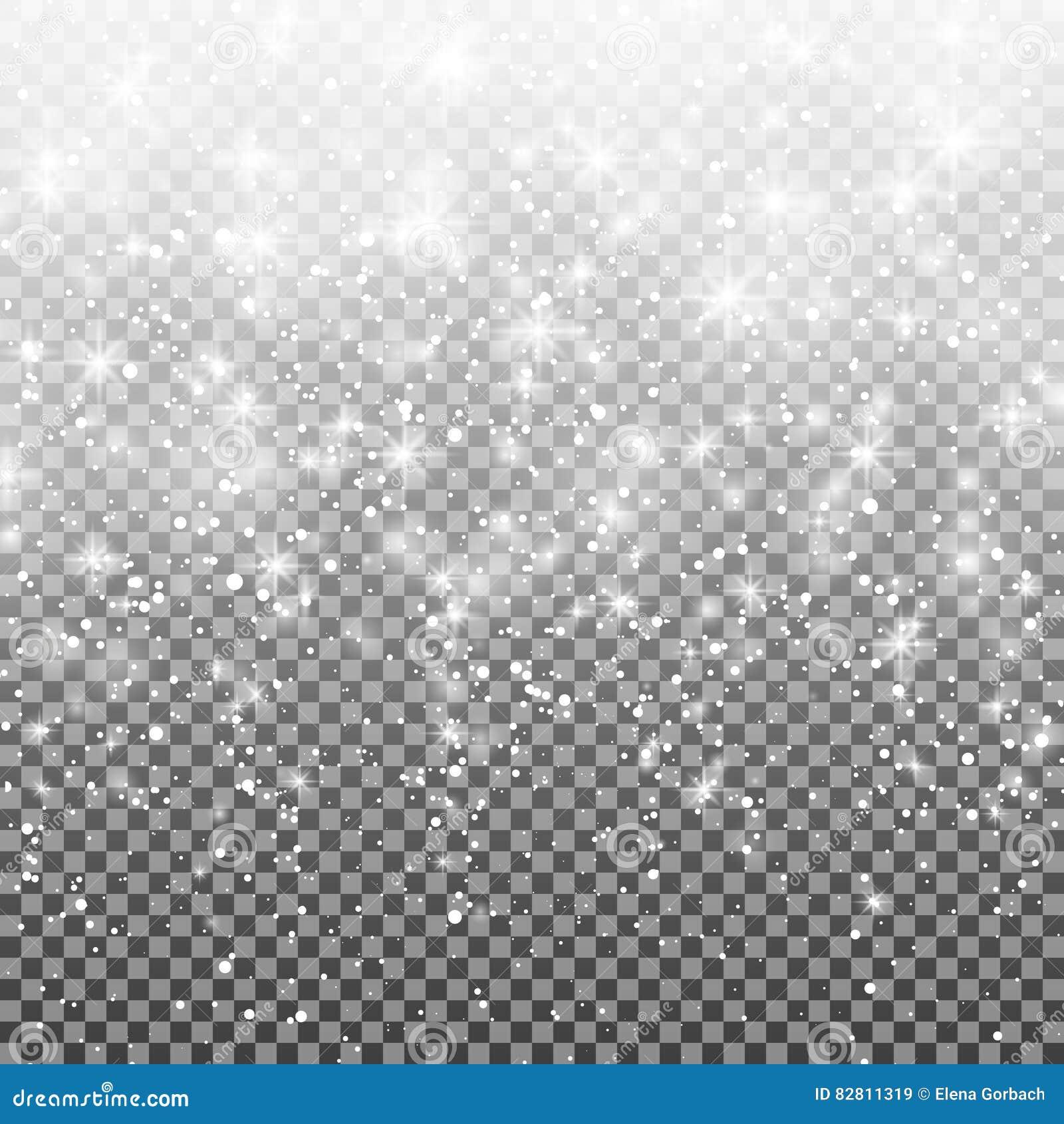 Fallande snö på en genomskinlig bakgrund Vektorillustration 10 eps Abstrakt vit blänker snöflingabakgrund
