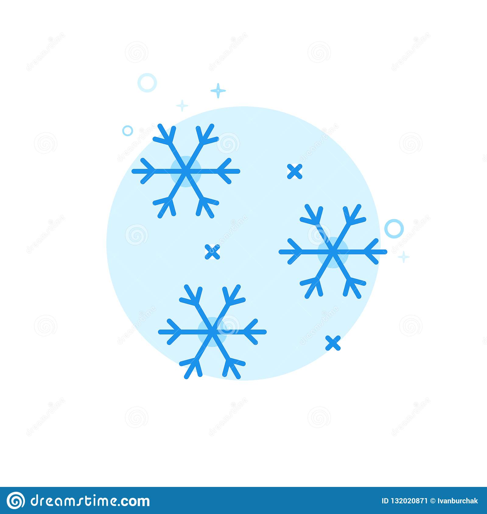 Fallande snö, plan vektorsymbol för snöflingor, symbol, Pictogram, tecken Ljust - blå monokrom design Redigerbar slaglängd