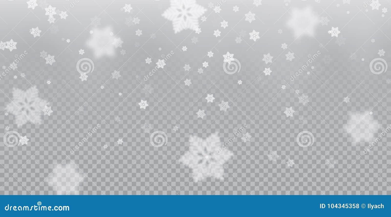 Fallande snöflingamodellbakgrund av vit kall snöfallsamkopieringstextur på genomskinlig bakgrund VinterXmas-snö f
