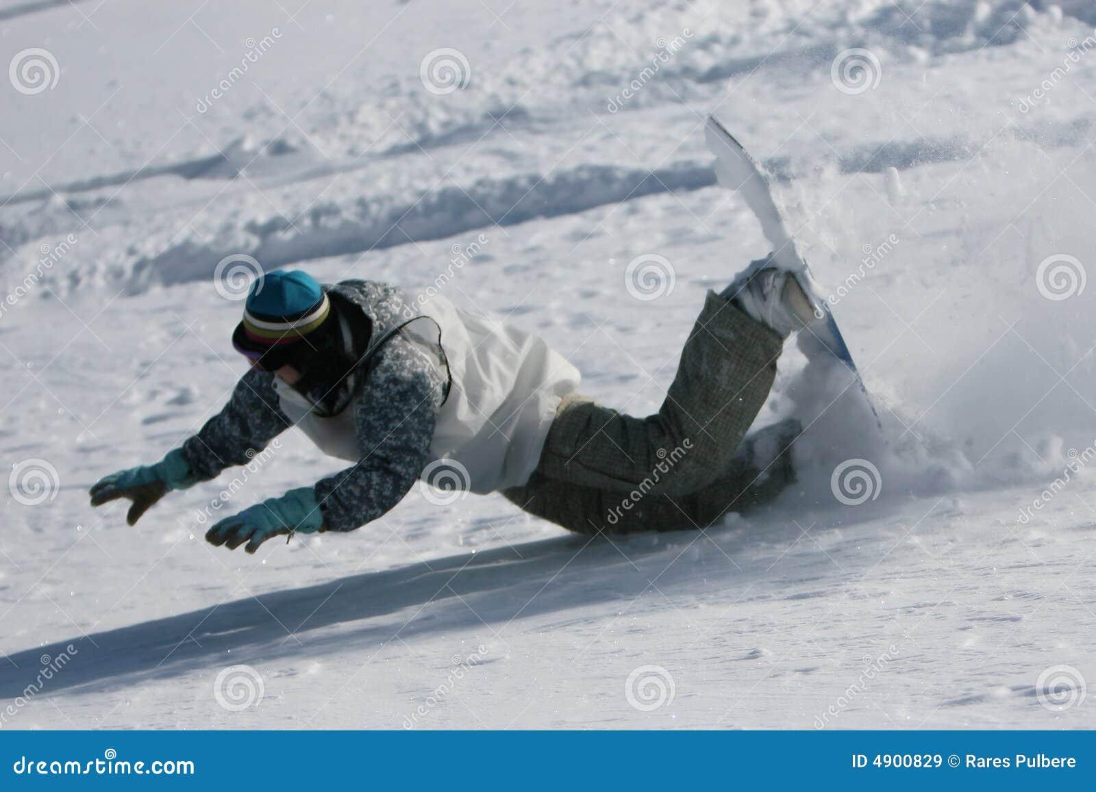 Fallande snowboarder
