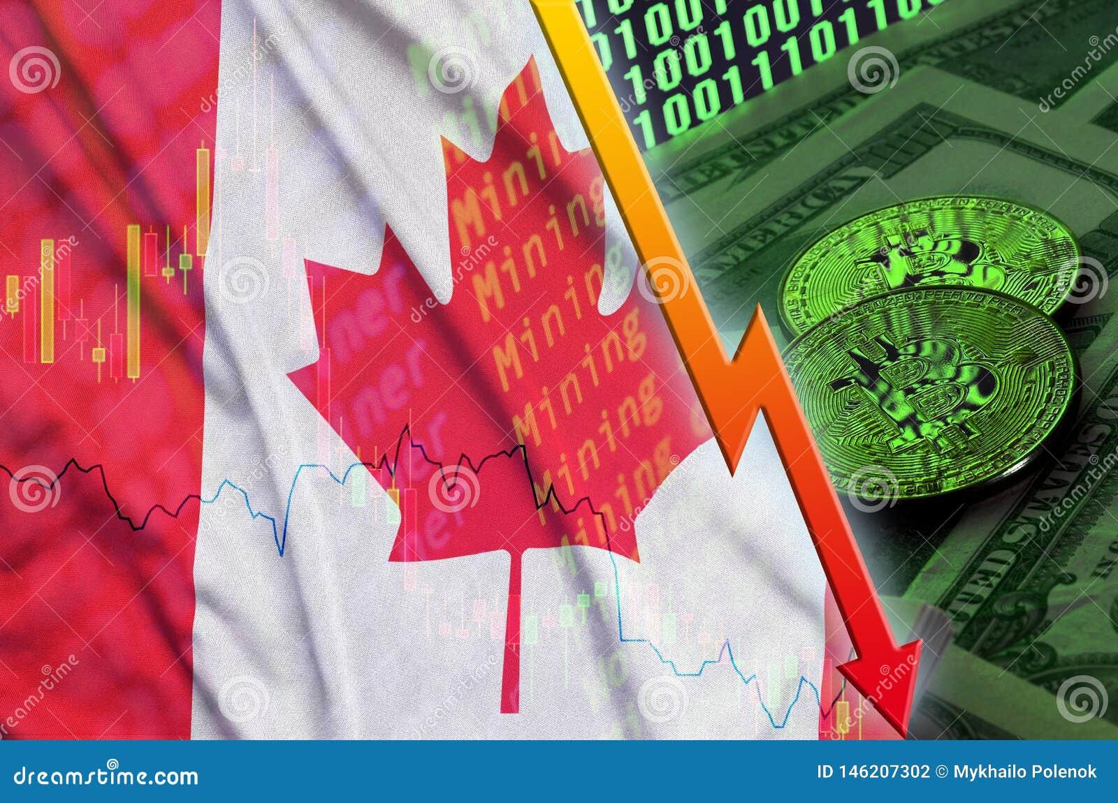 Fallande trend för för Kanada flagga och cryptocurrency med två bitcoins på dollarräkningar och skärm för binär kod