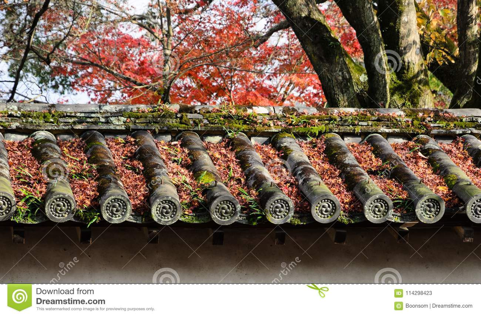 Fallen autumn maple leaves on Japanese temple roof