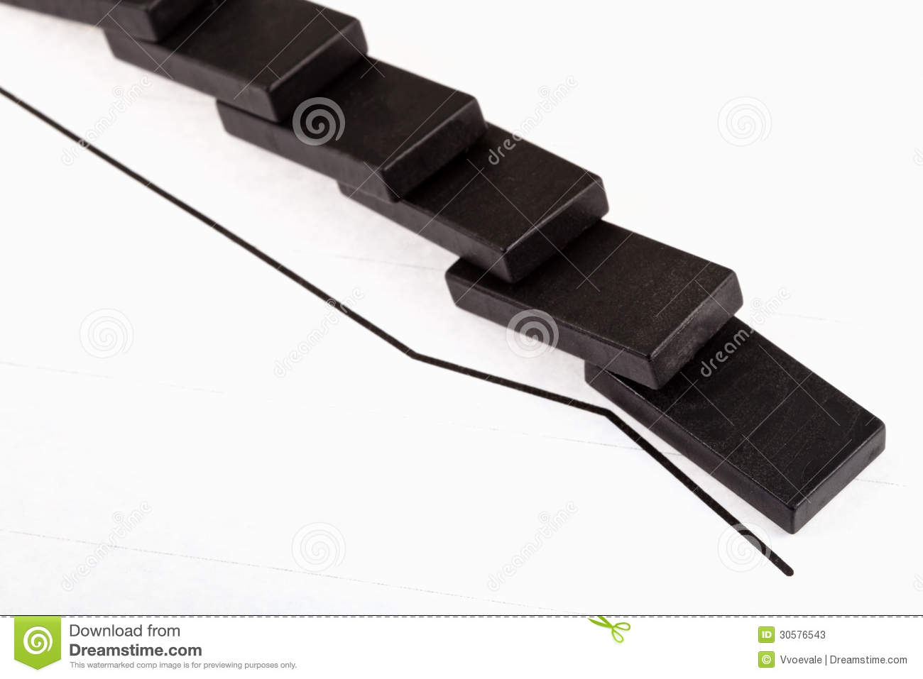 Fallen Domino And Falling Economy Graph Stock Image Image