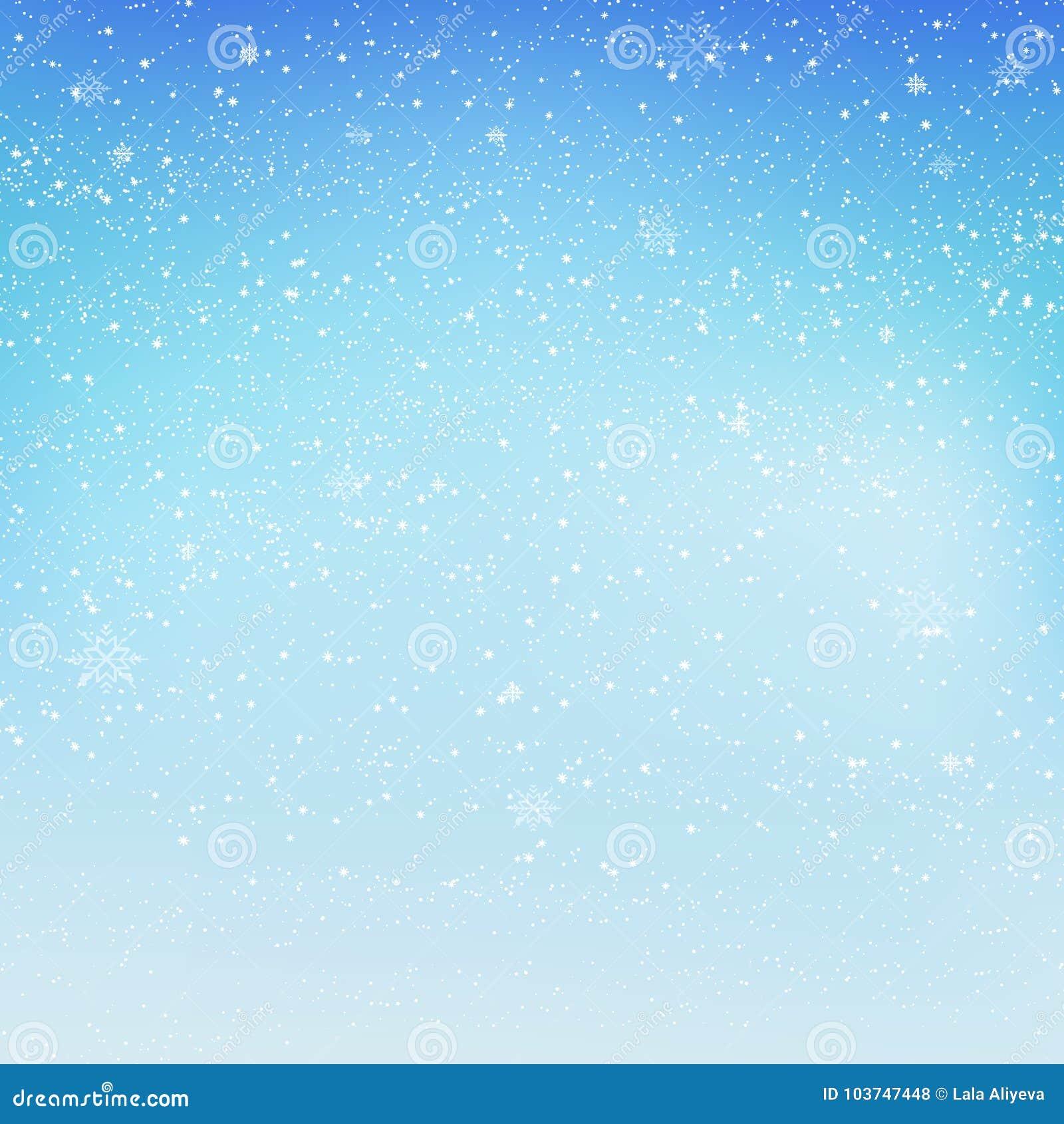 Fallender Glänzender Schnee Oder Schneeflocken Auf Blauem ...